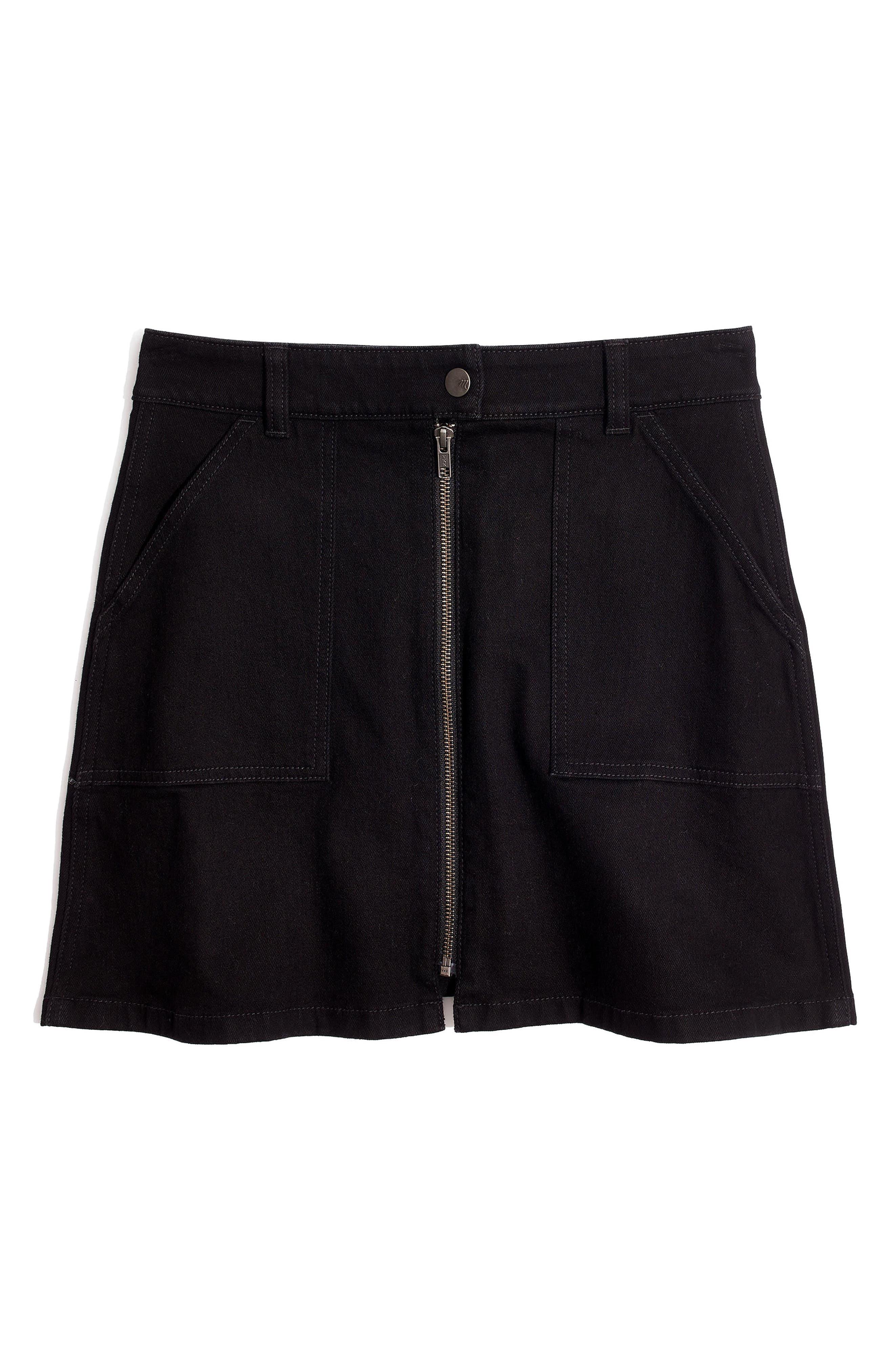 Zip Denim Utility Miniskirt,                             Alternate thumbnail 3, color,                             Black Frost