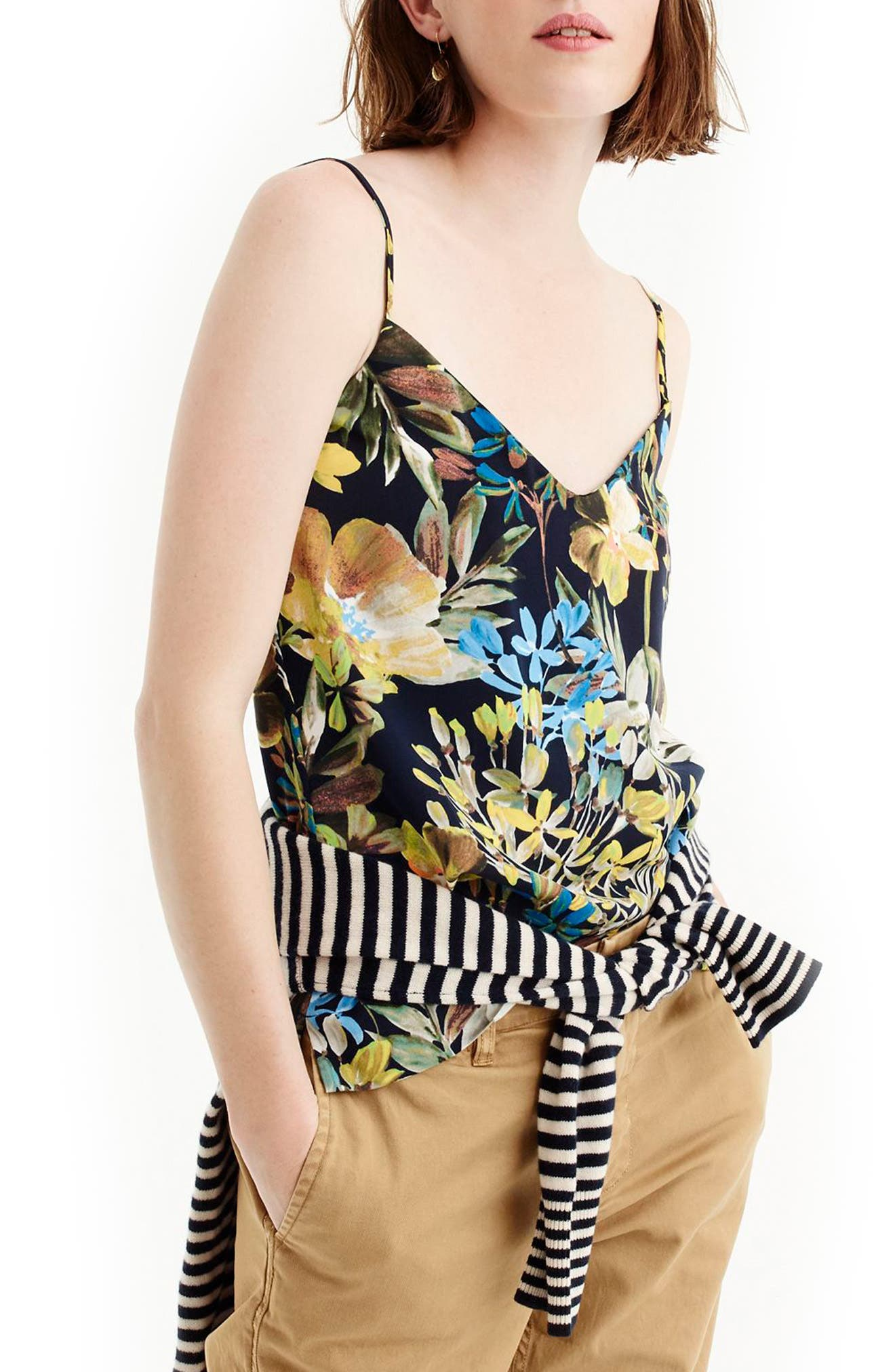 J.Crew V-Neck Watercolor Floral Cami,                         Main,                         color, Navy Floral