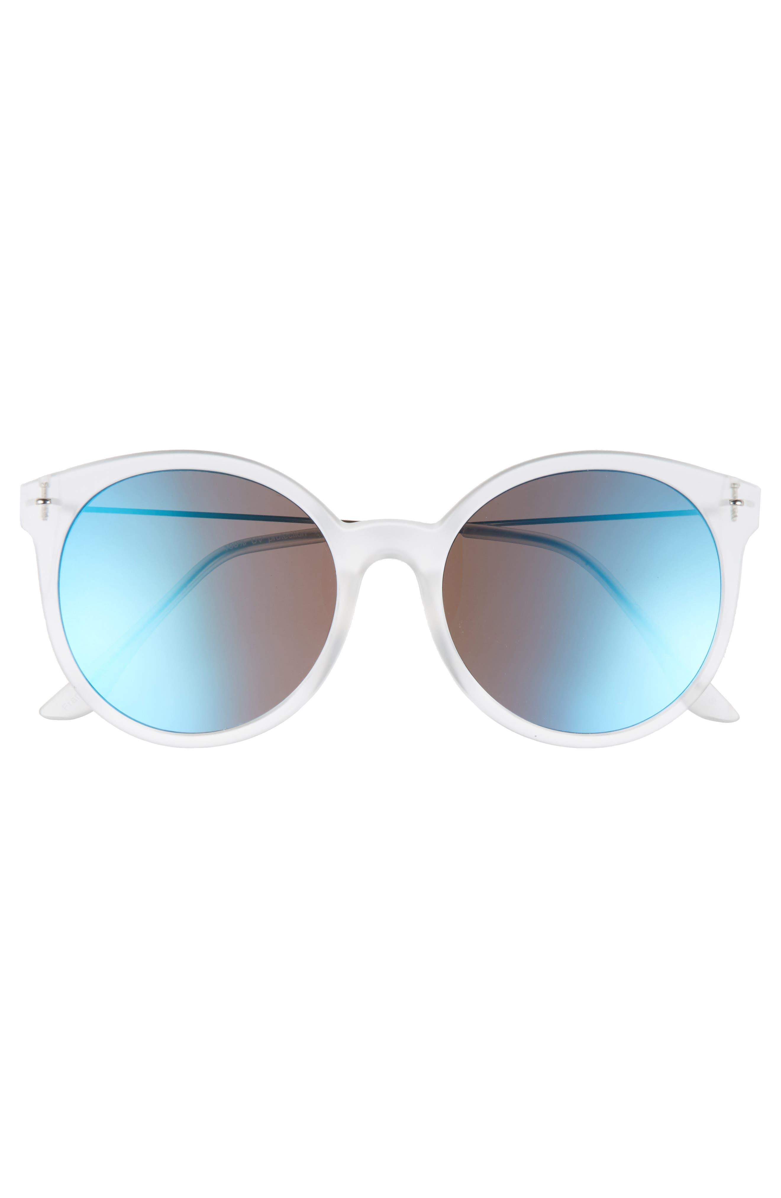 62mm Transparent Round Lens Sunglasses,                             Alternate thumbnail 3, color,                             Clear/ Blue