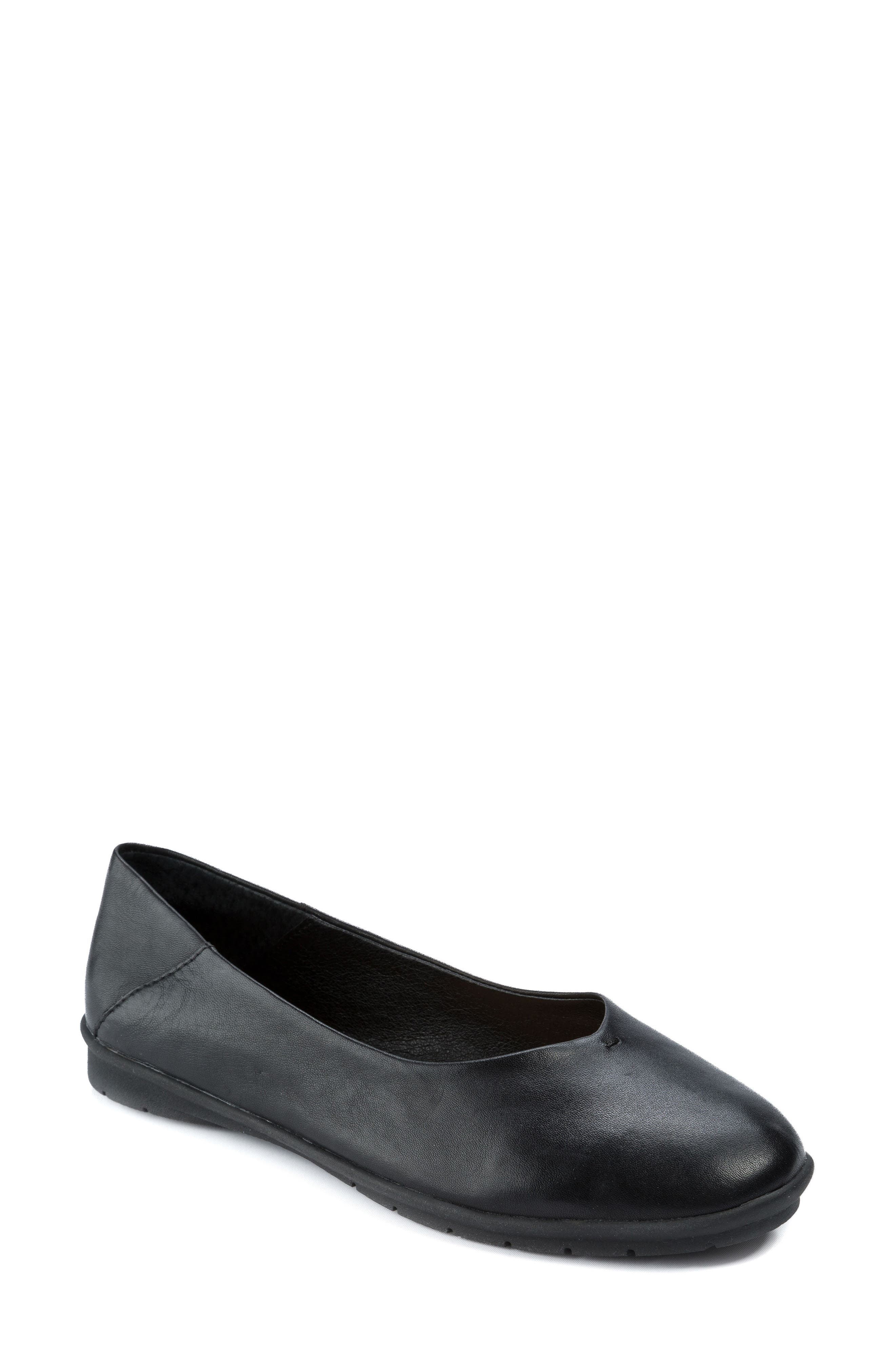 Natalia Flat,                             Main thumbnail 1, color,                             Black Leather