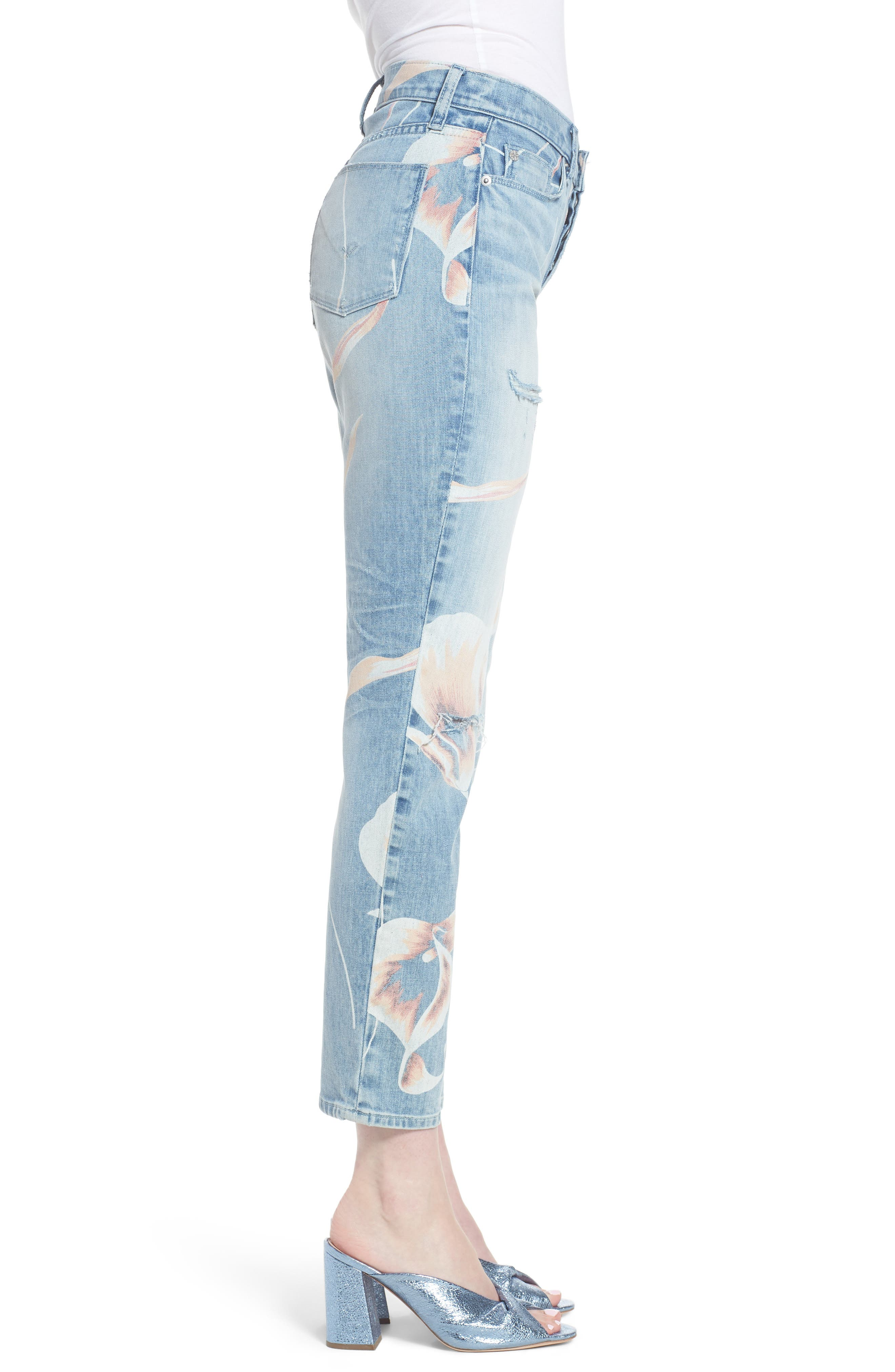 Zoeey High Waist Ankle Straight Leg Jeans,                             Alternate thumbnail 3, color,                             In Bloom