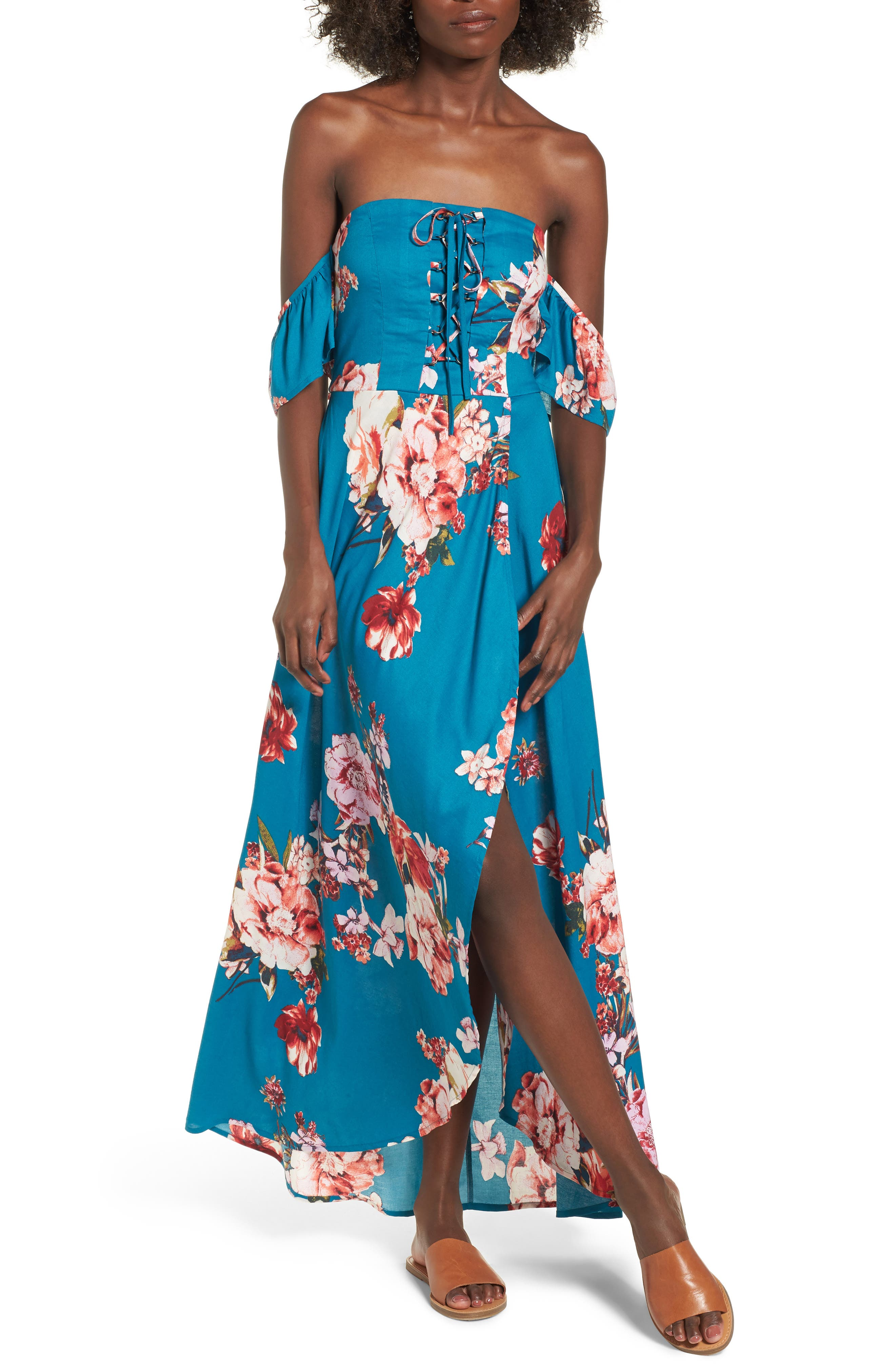 Lace Up Cold Shoulder Maxi Dress,                             Main thumbnail 1, color,                             Teal/ Peach