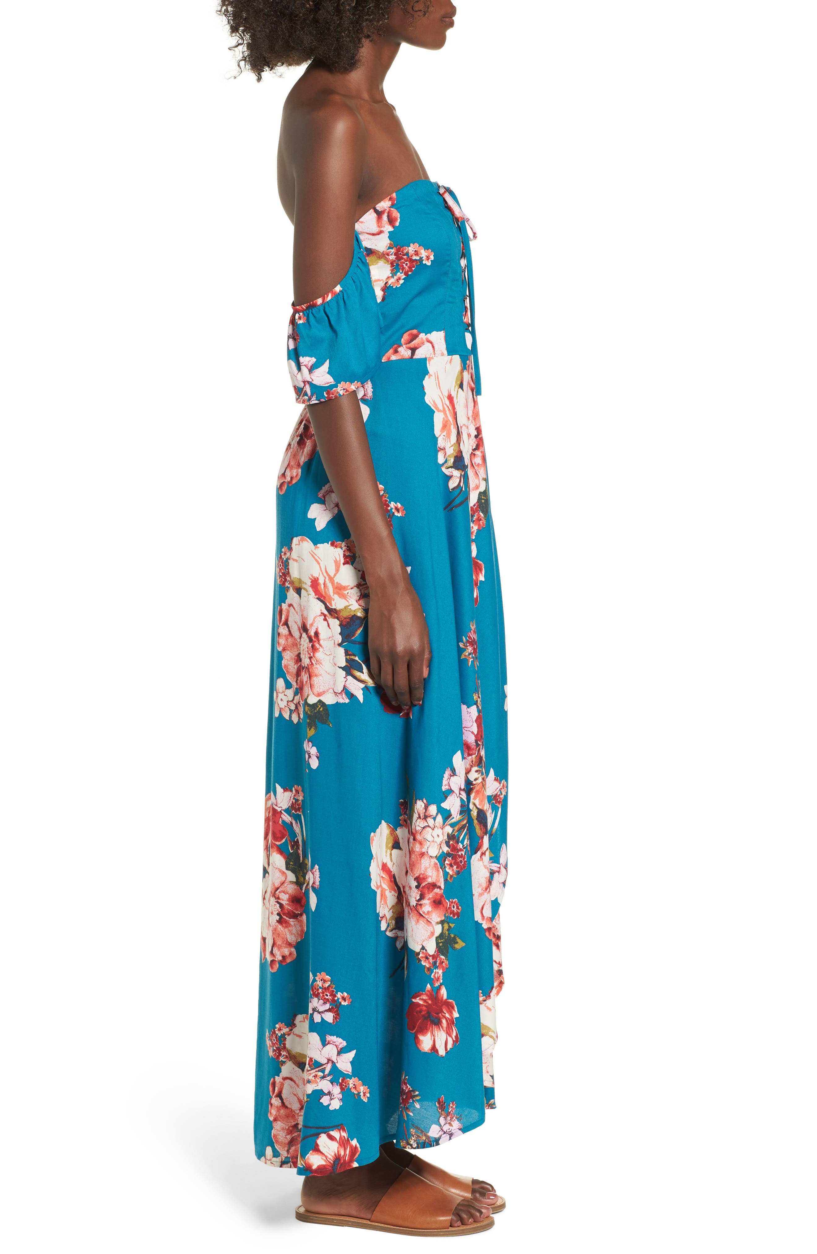 Lace Up Cold Shoulder Maxi Dress,                             Alternate thumbnail 3, color,                             Teal/ Peach