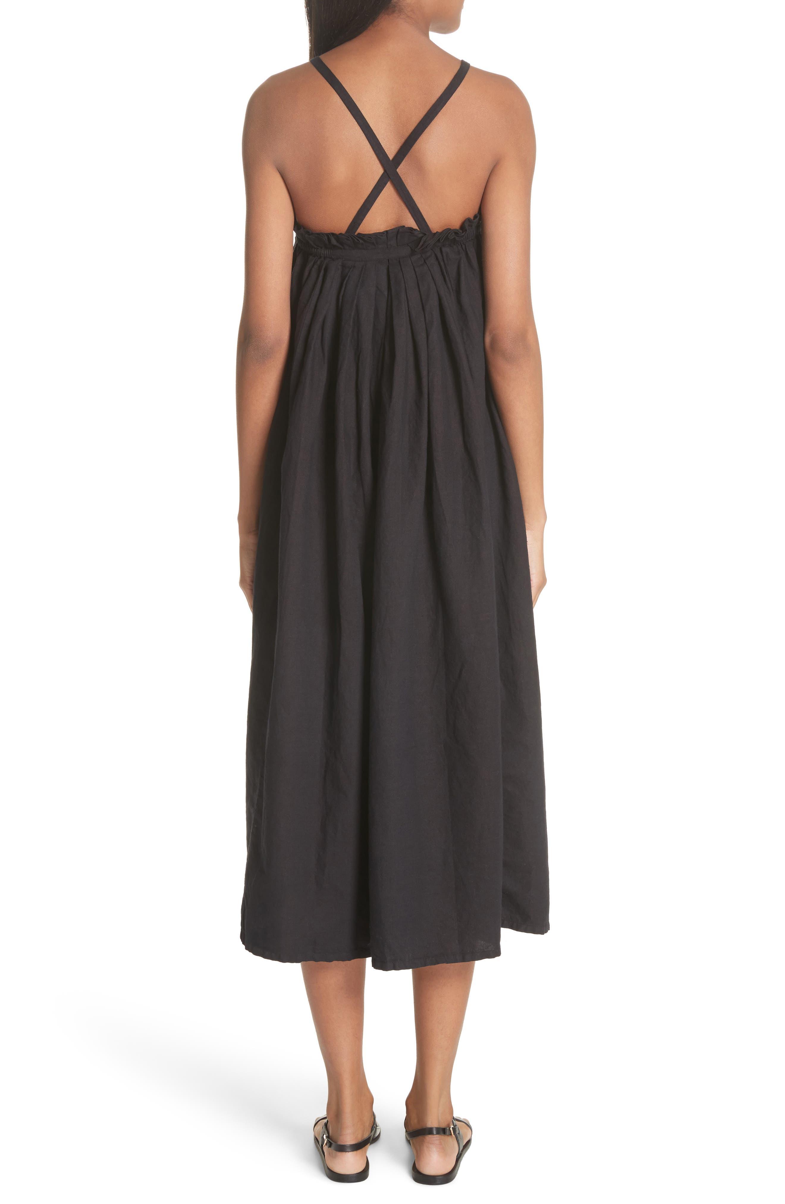The Tulip Linen & Cotton Dress,                             Alternate thumbnail 3, color,                             Black