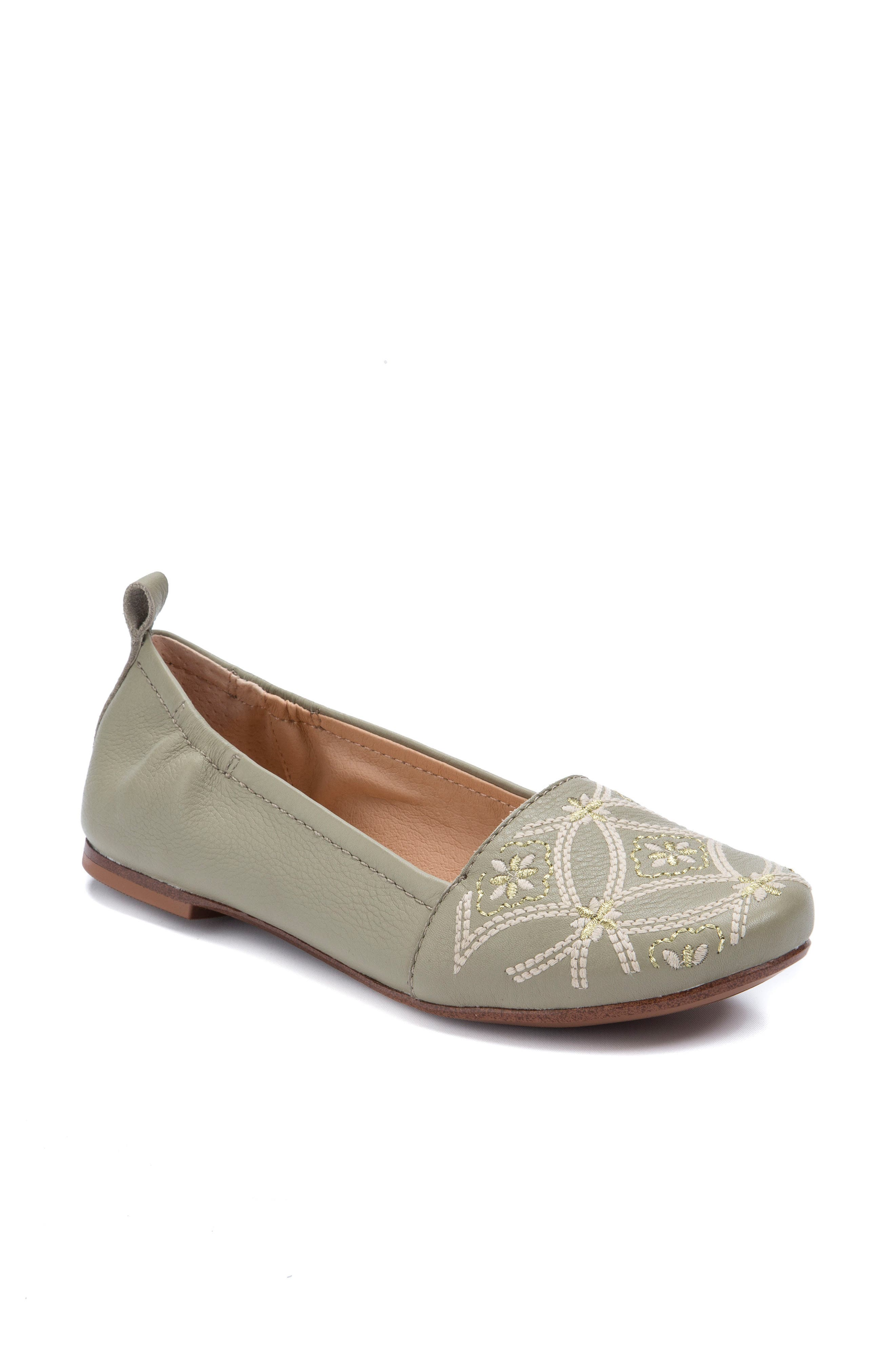 Globe Embroidered Flat,                             Main thumbnail 1, color,                             Sage Leather