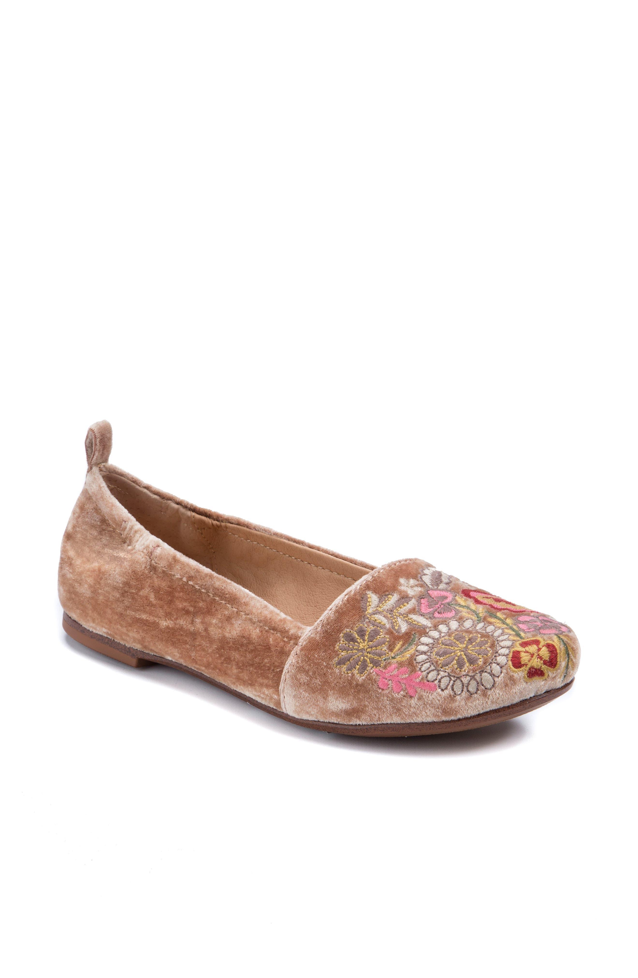 Gayla Floral Embroidered Flat,                         Main,                         color, Rose Velvet