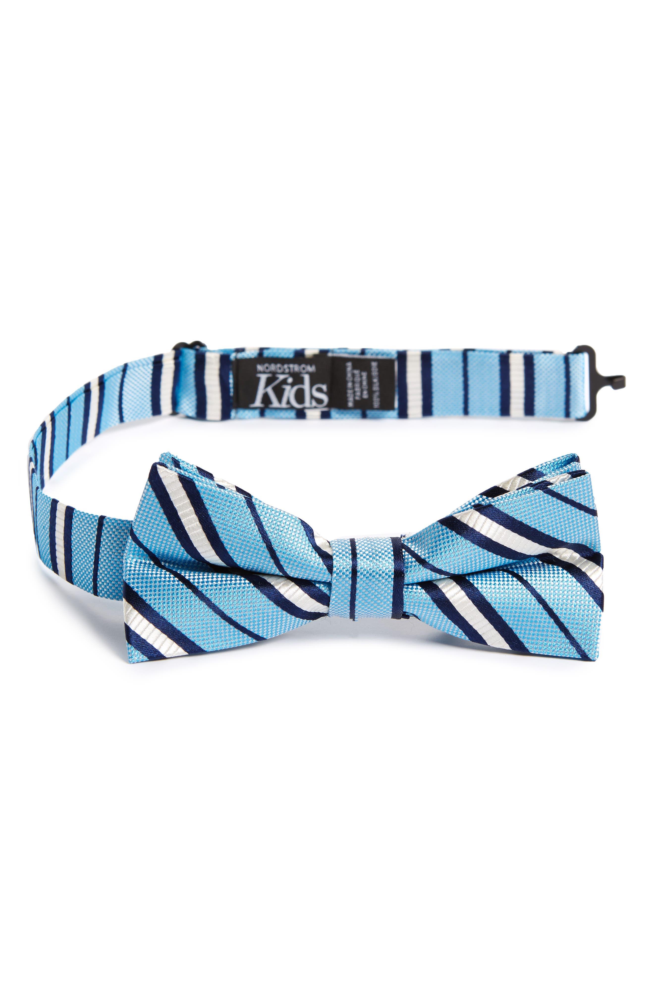 Candy Stripes Silk Bow Tie,                             Main thumbnail 1, color,                             Light Blue