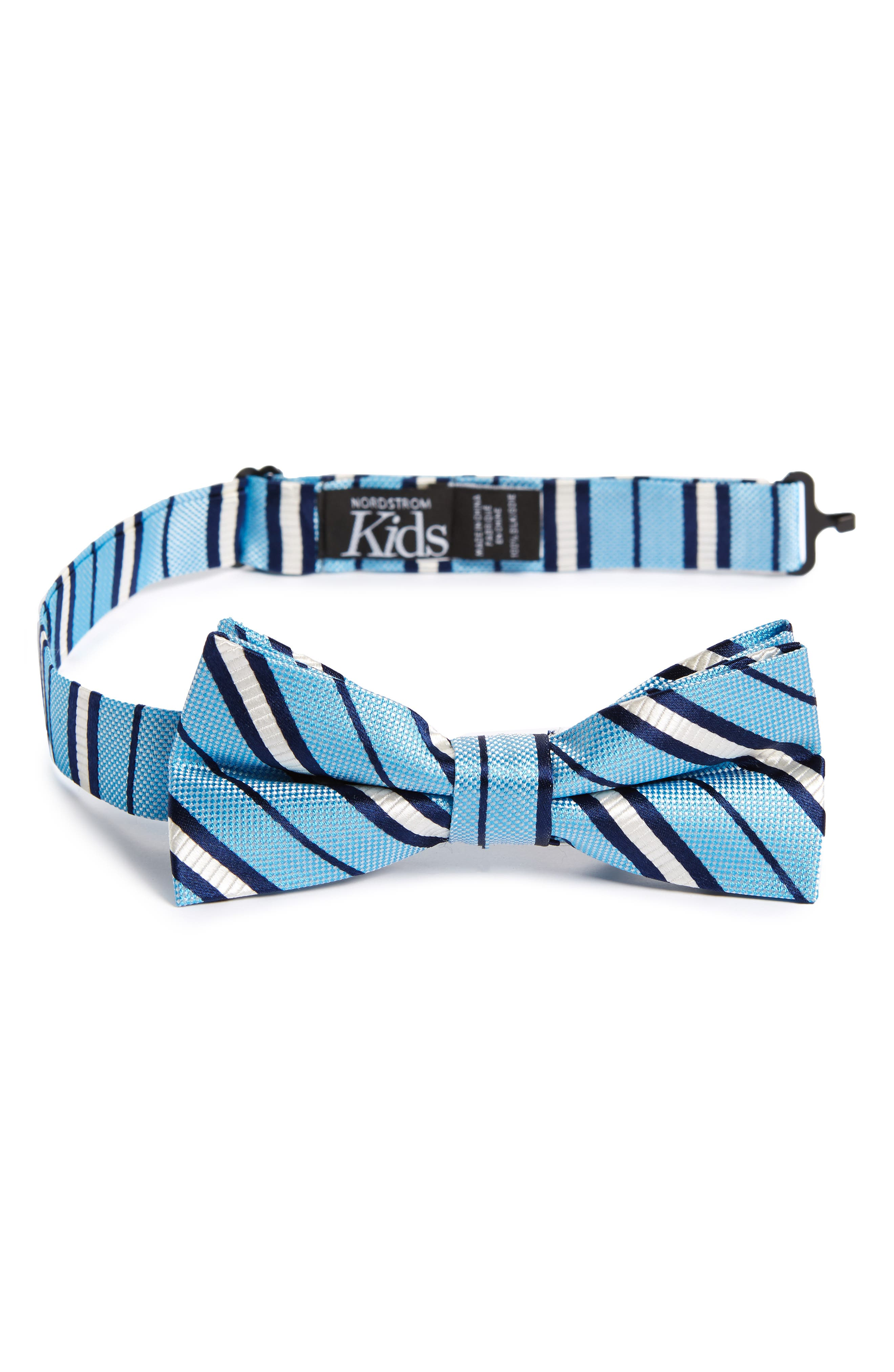 Candy Stripes Silk Bow Tie,                         Main,                         color, Light Blue