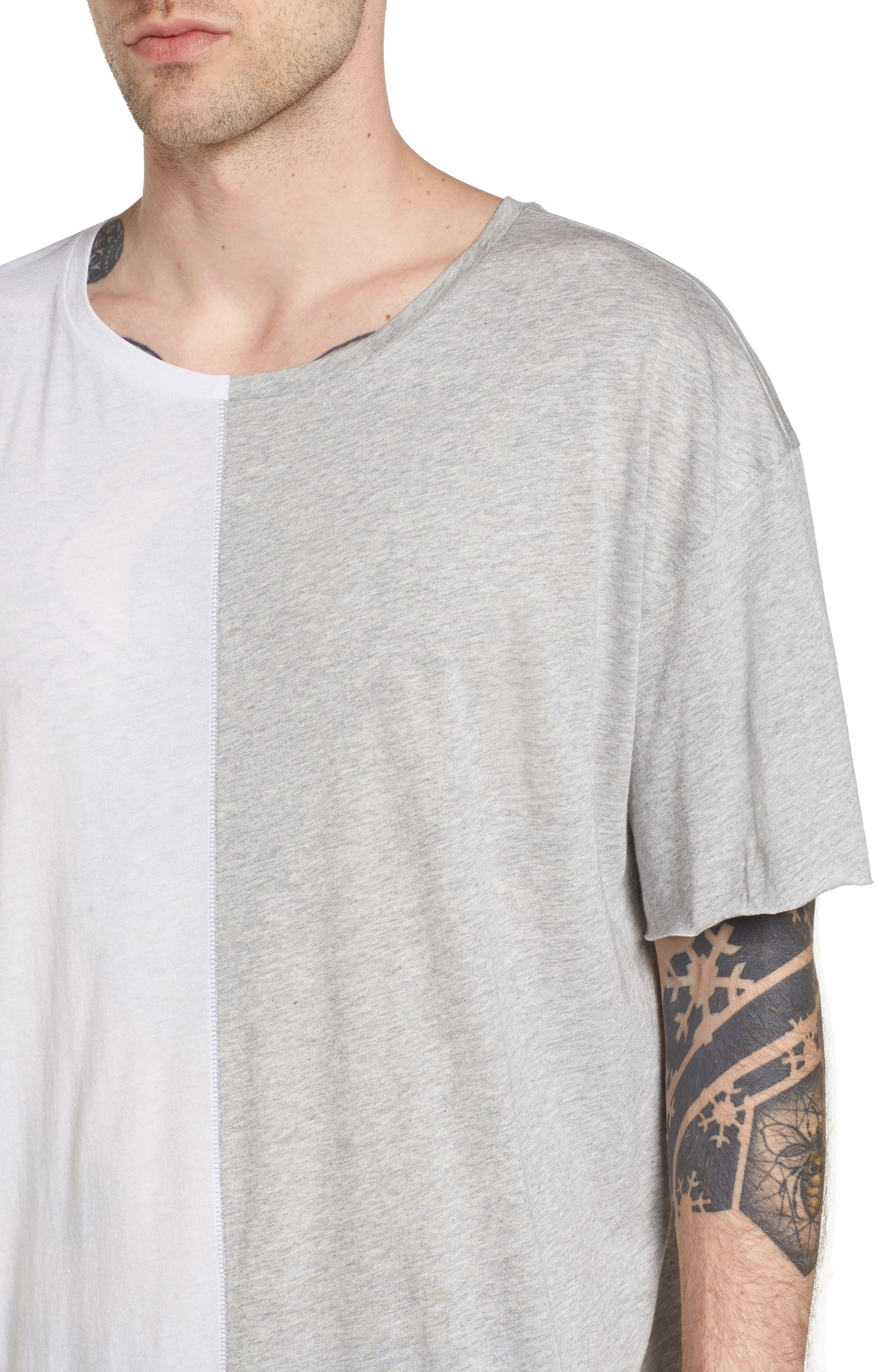 Boxy Splice T-Shirt,                             Alternate thumbnail 4, color,                             White/ Grey Heather