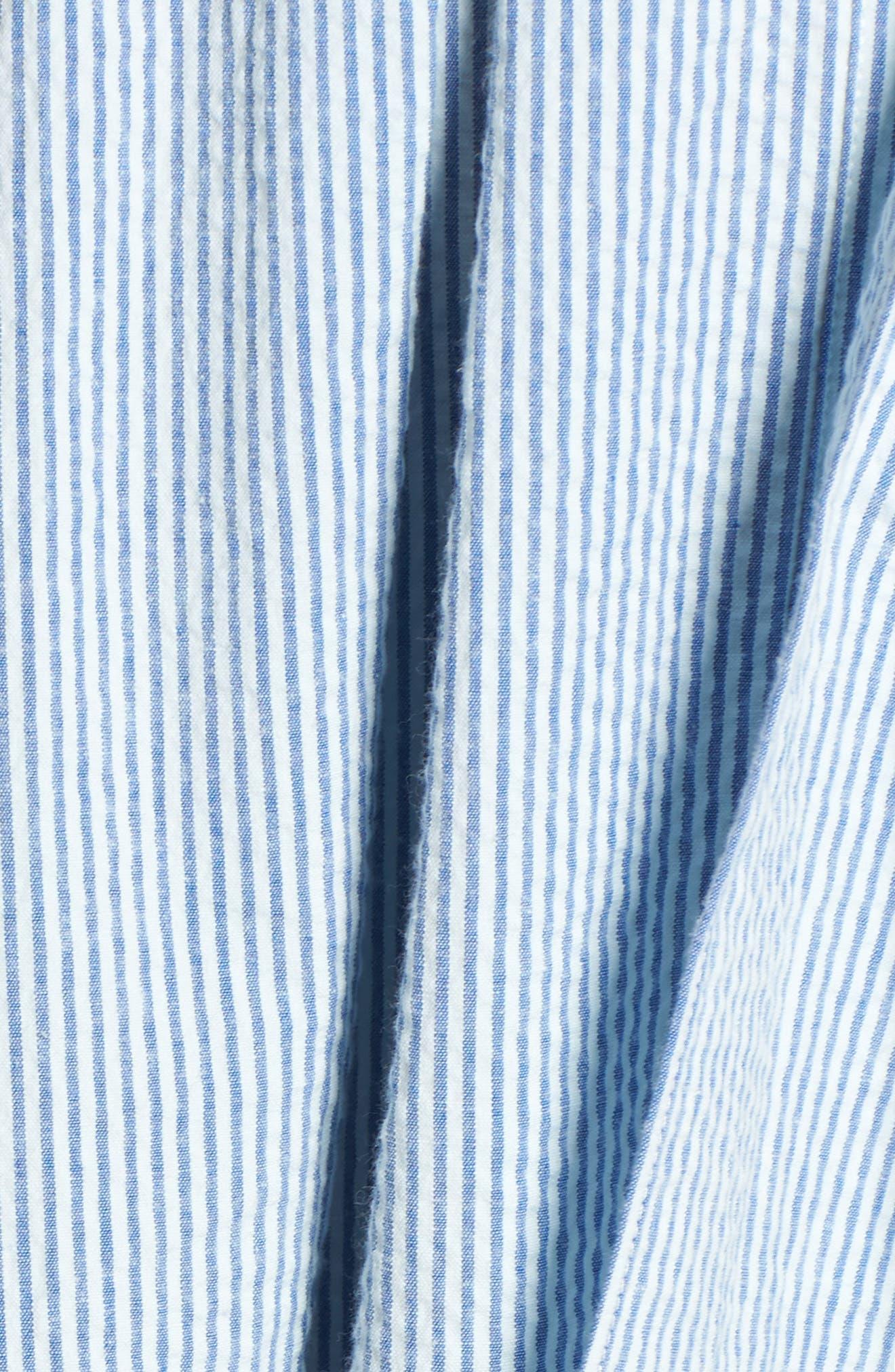 Seersucker Shirtdress,                             Alternate thumbnail 5, color,                             Blue Seersucker