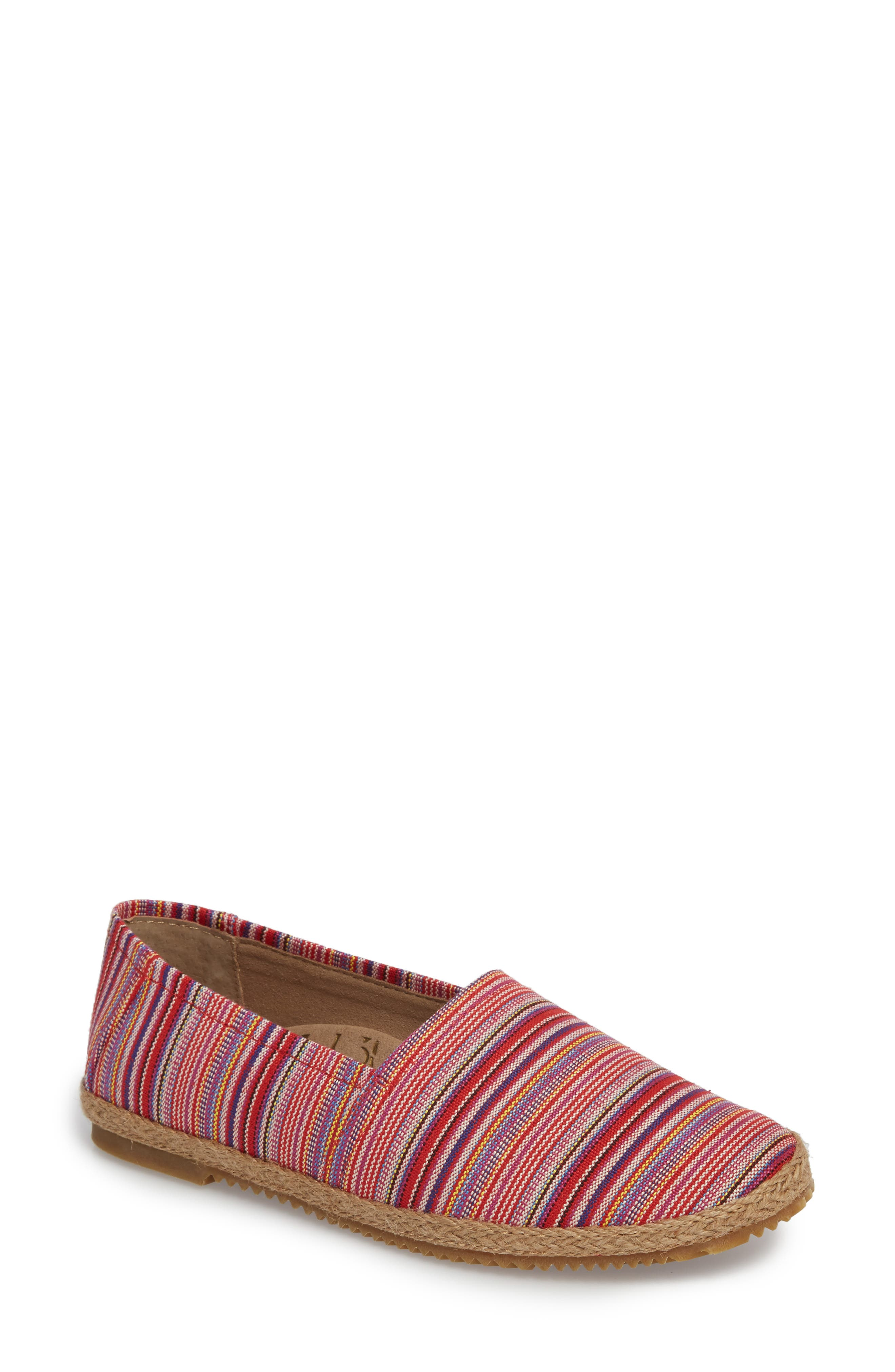 Kylie Slip-On,                             Main thumbnail 1, color,                             Pink Stripe Fabric
