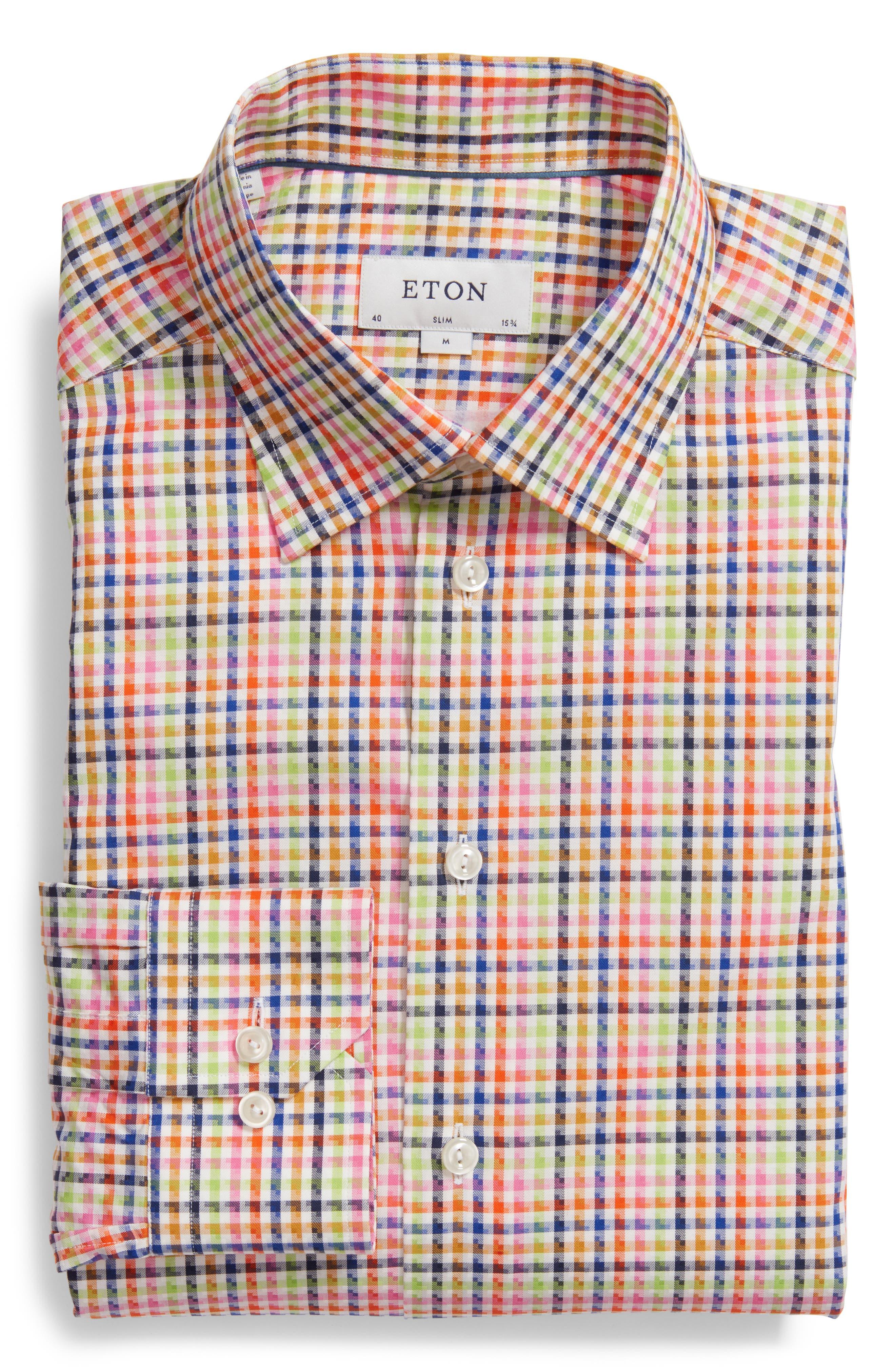 Slim Fit Check Dress Shirt,                             Main thumbnail 1, color,                             Pink Multi