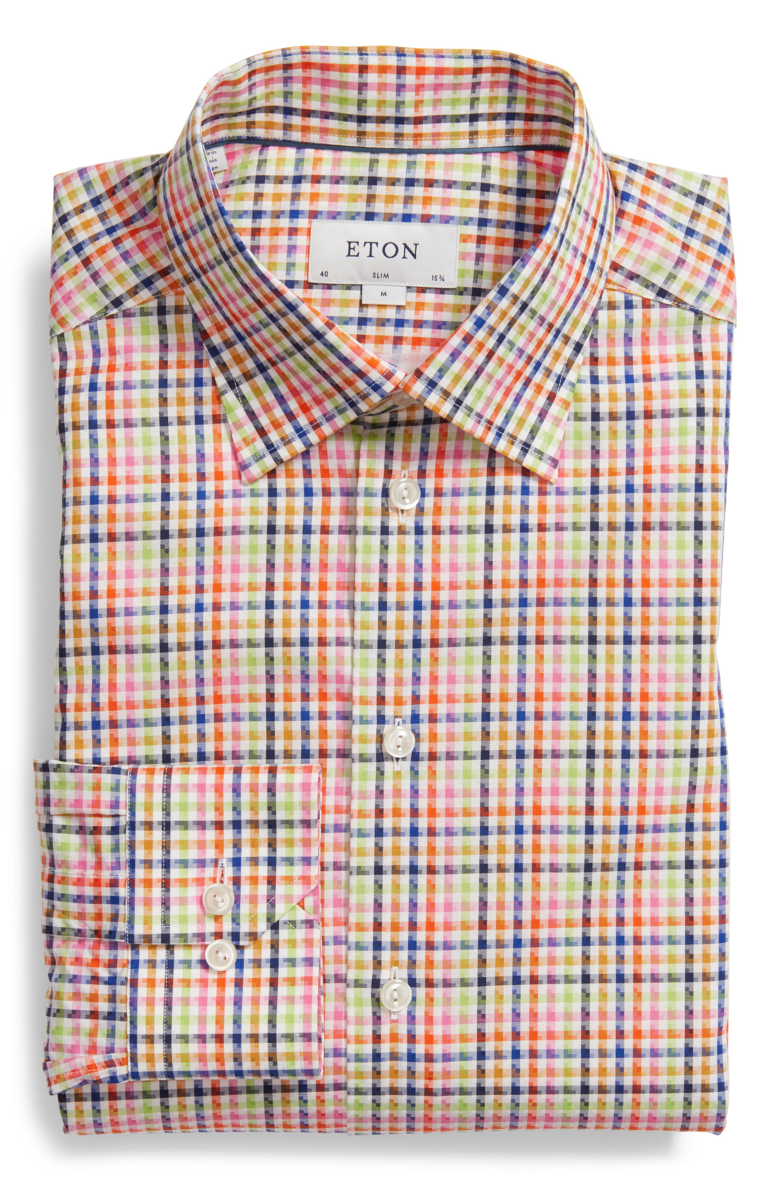 Slim Fit Check Dress Shirt,                         Main,                         color, Pink Multi