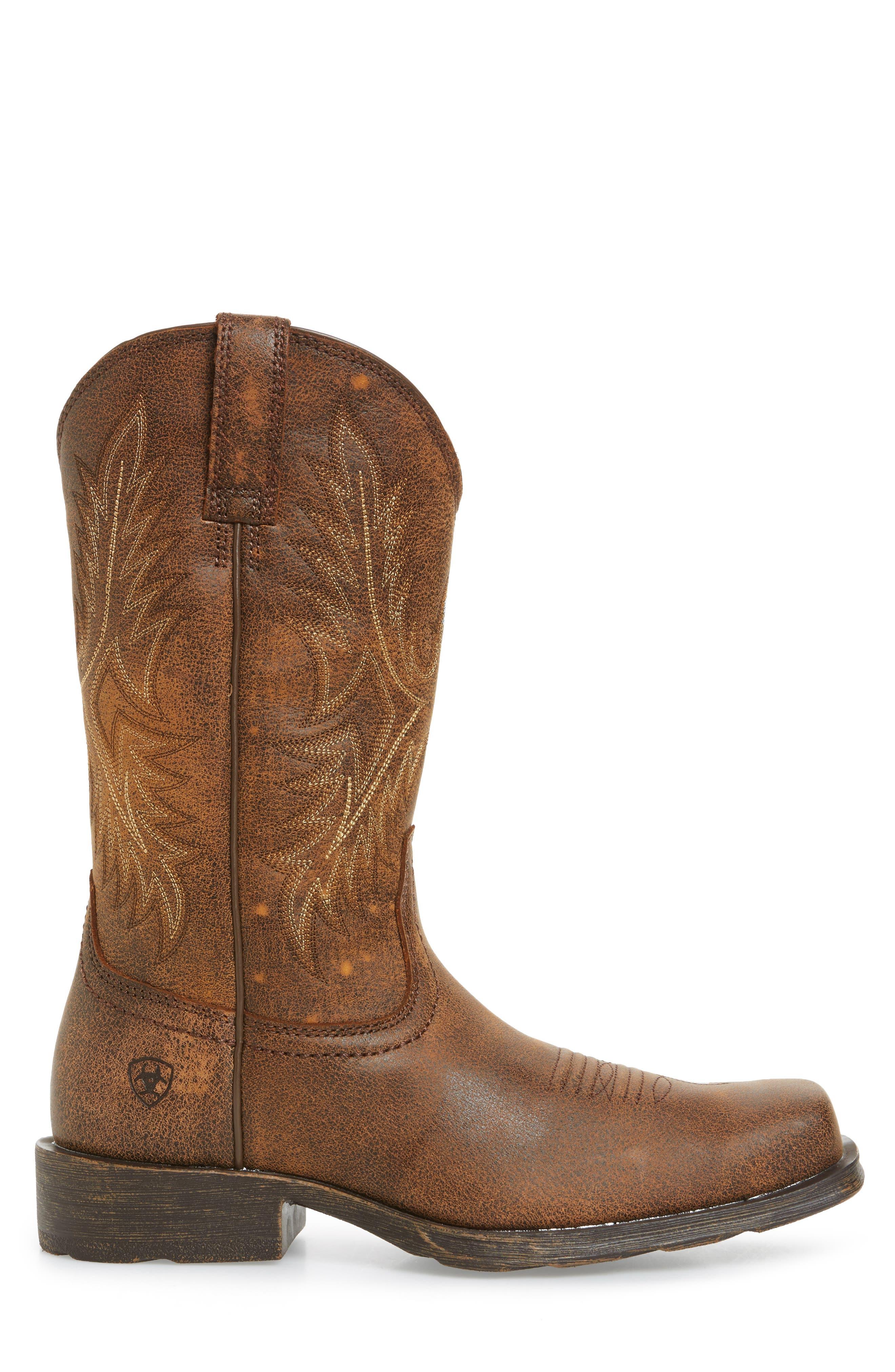 Western Rambler Cowboy Boot,                             Alternate thumbnail 3, color,                             Vintage Bomber Leather