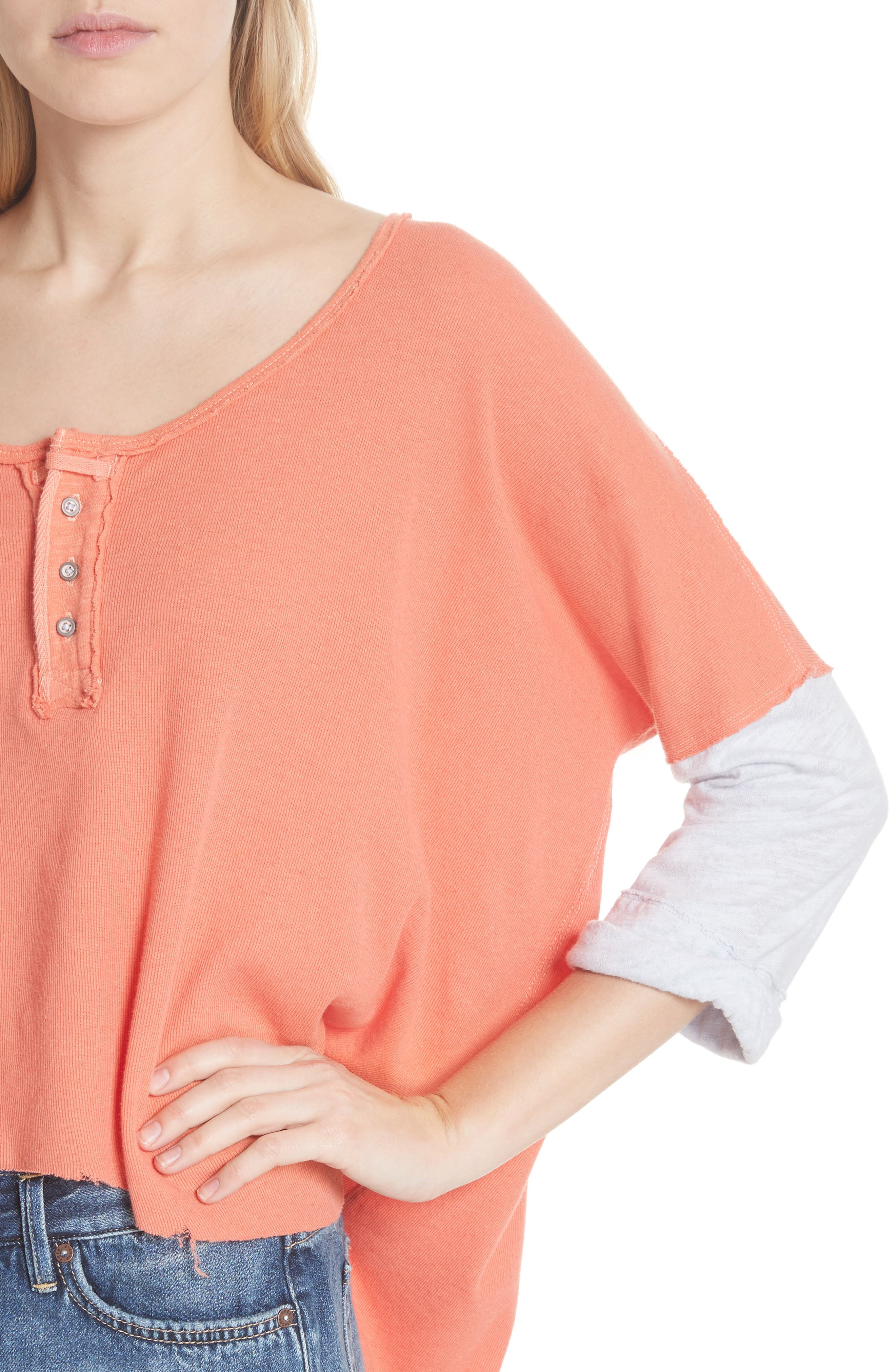 We the Free Star Henley Top,                             Alternate thumbnail 4, color,                             Coral