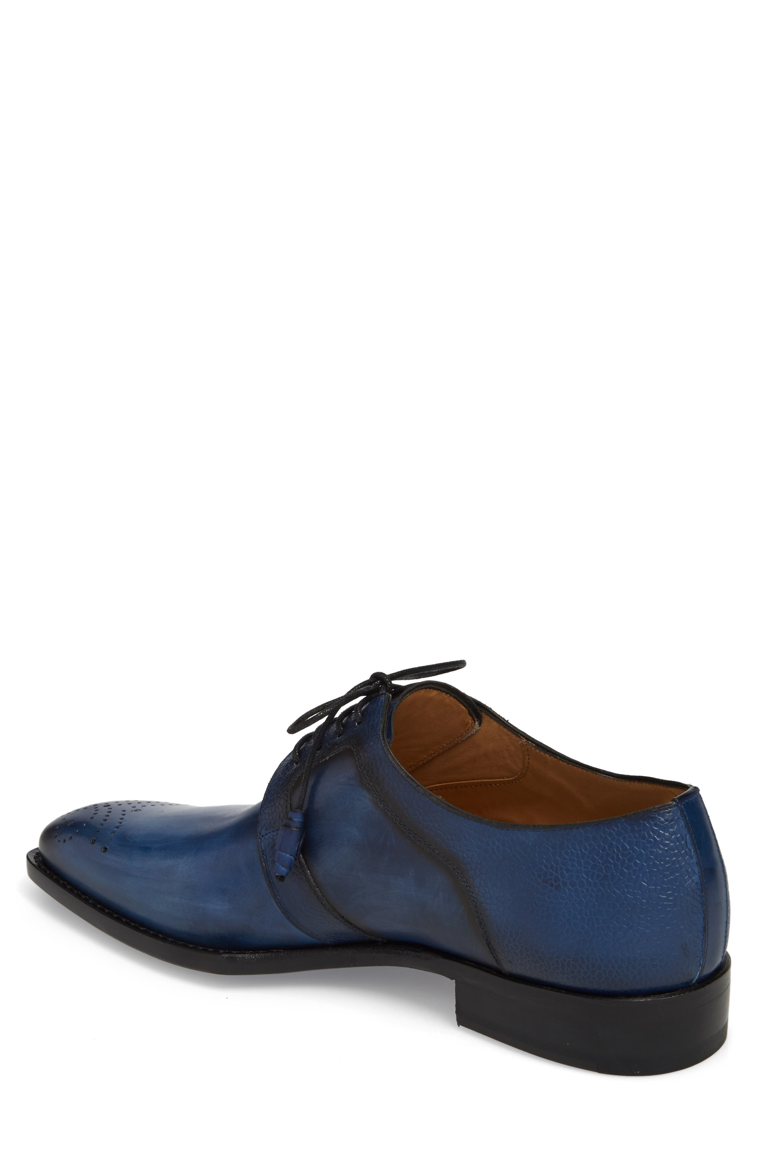 Saturno Medallion Toe Derby,                             Alternate thumbnail 2, color,                             Mid Blue Leather