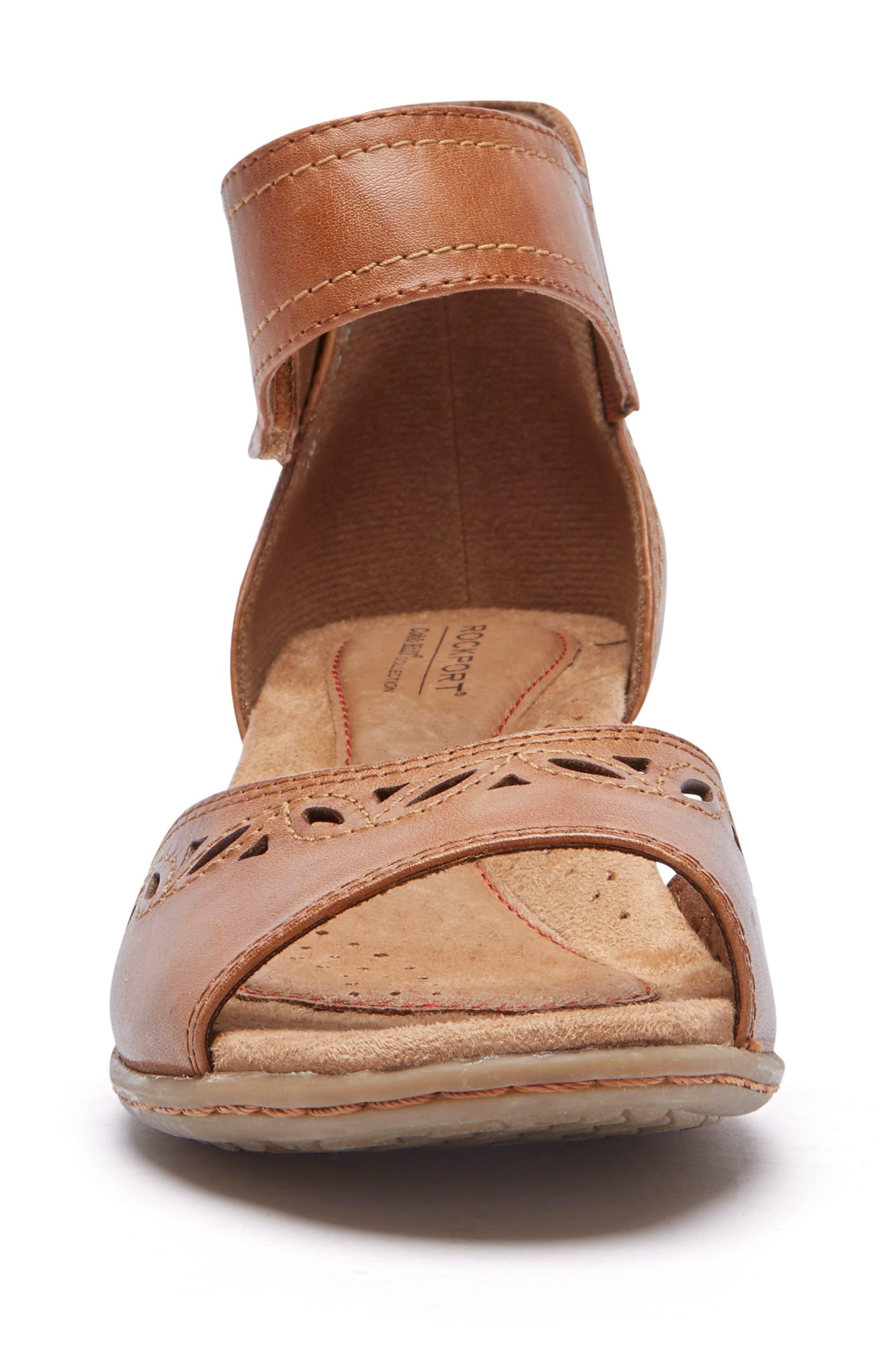 Abbott Perforated Sandal,                             Alternate thumbnail 4, color,                             Tan Leather