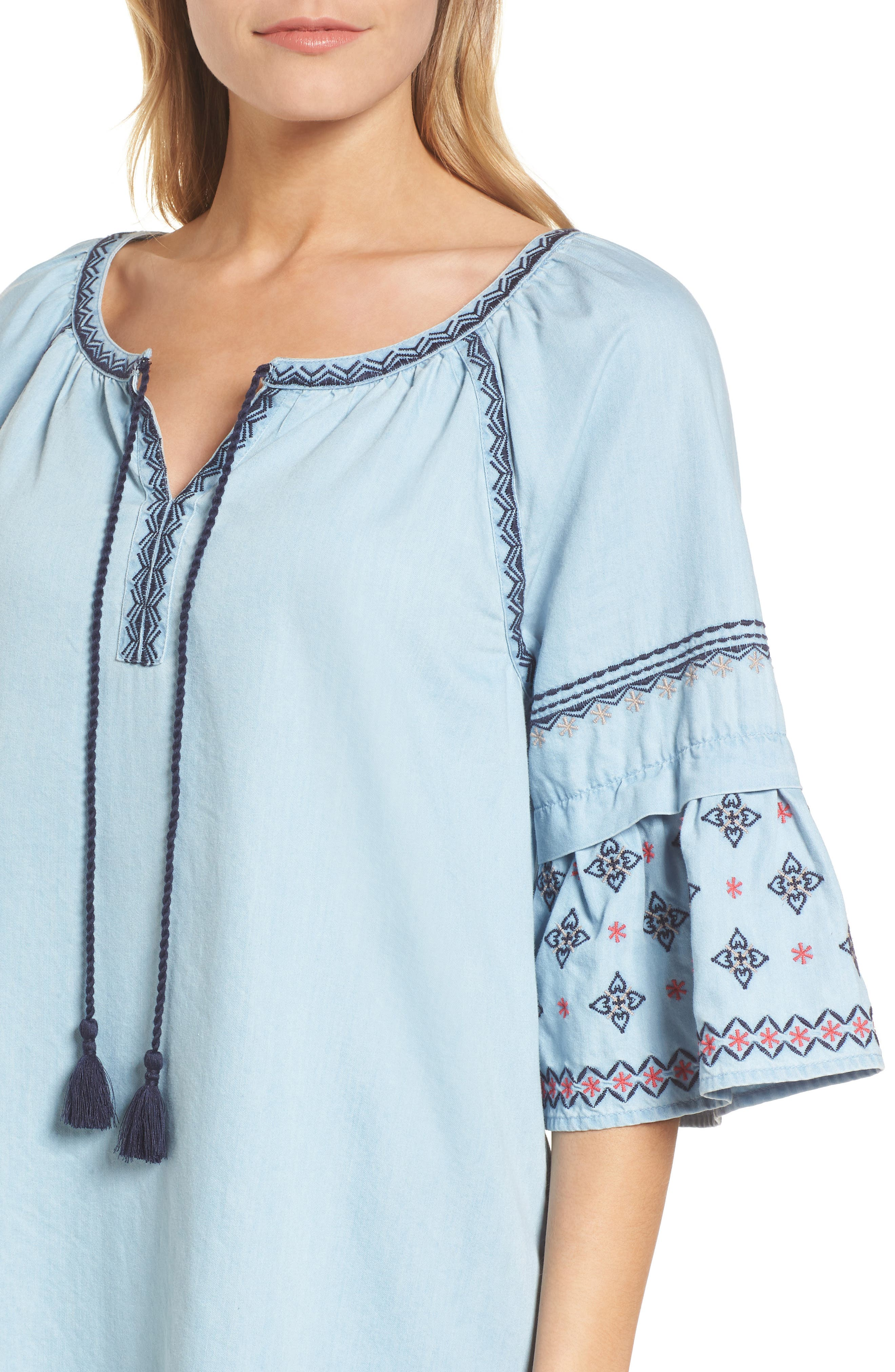 Embroidered Chambray Shift,                             Alternate thumbnail 4, color,                             Spectrum Wash