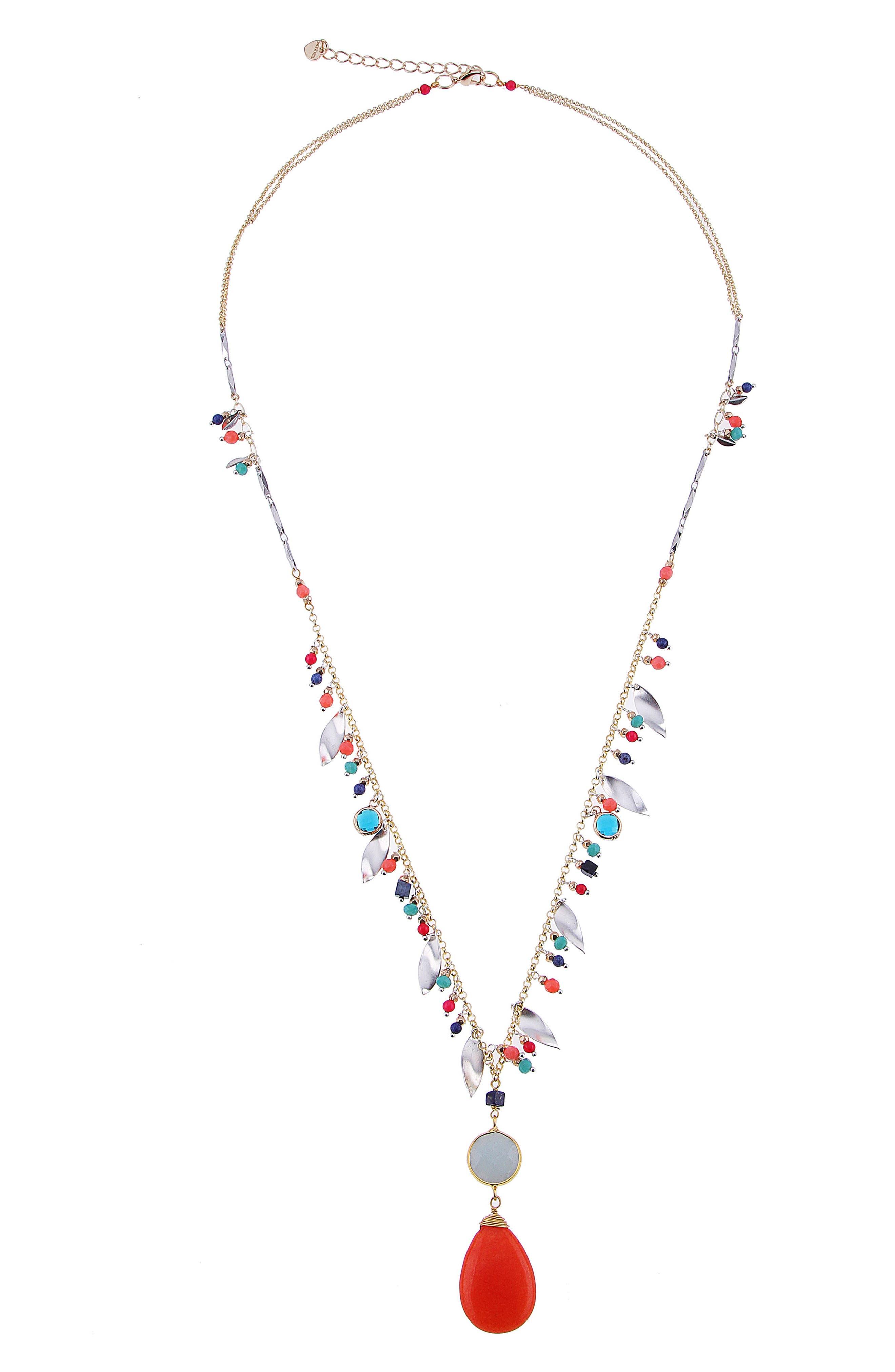 Tiny Stone Agate Pendant Necklace,                         Main,                         color, Multi