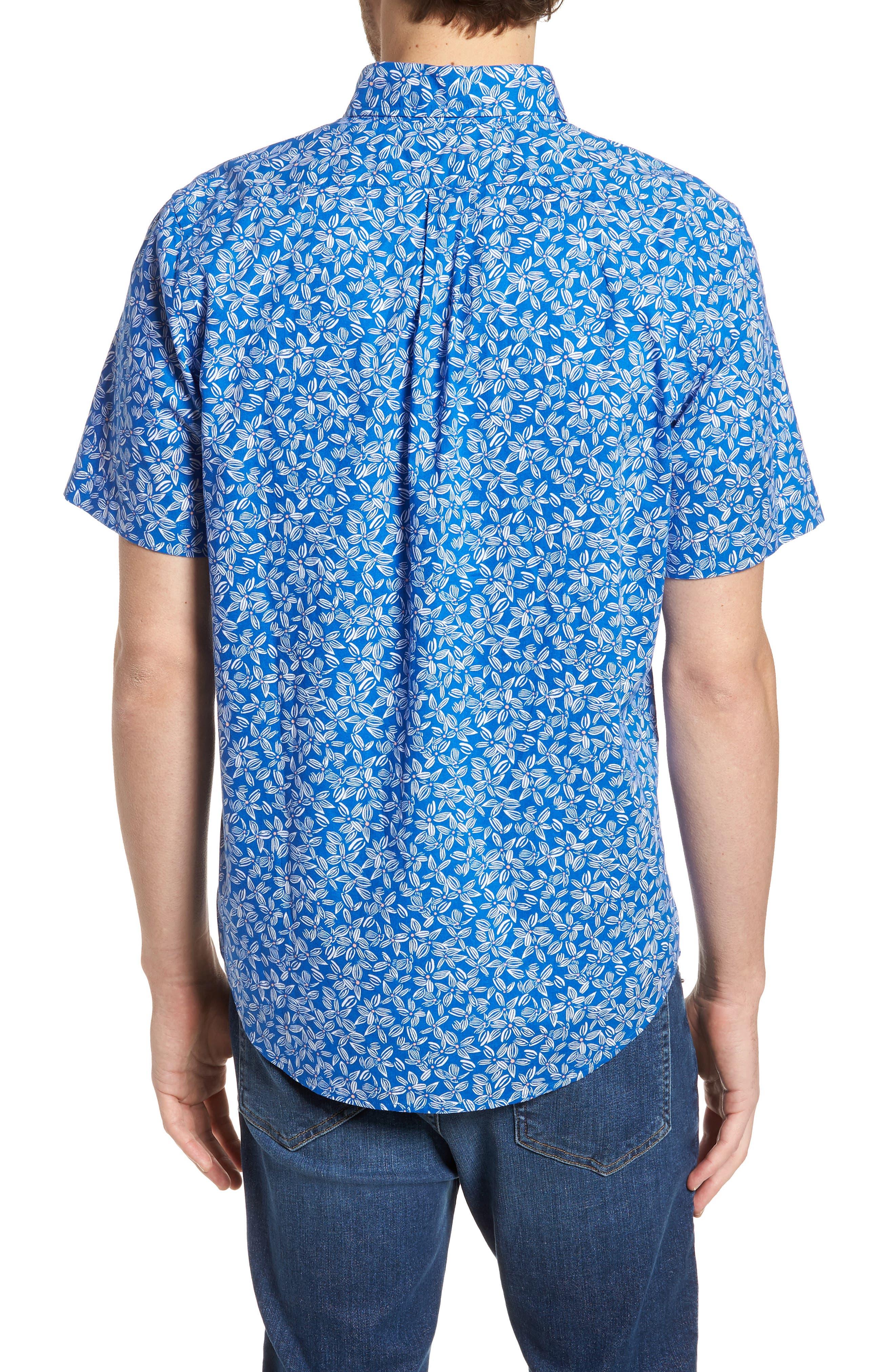 Linear Floral Slim Fit Print Short Sleeve Sport Shirt,                             Alternate thumbnail 2, color,                             Spinnaker
