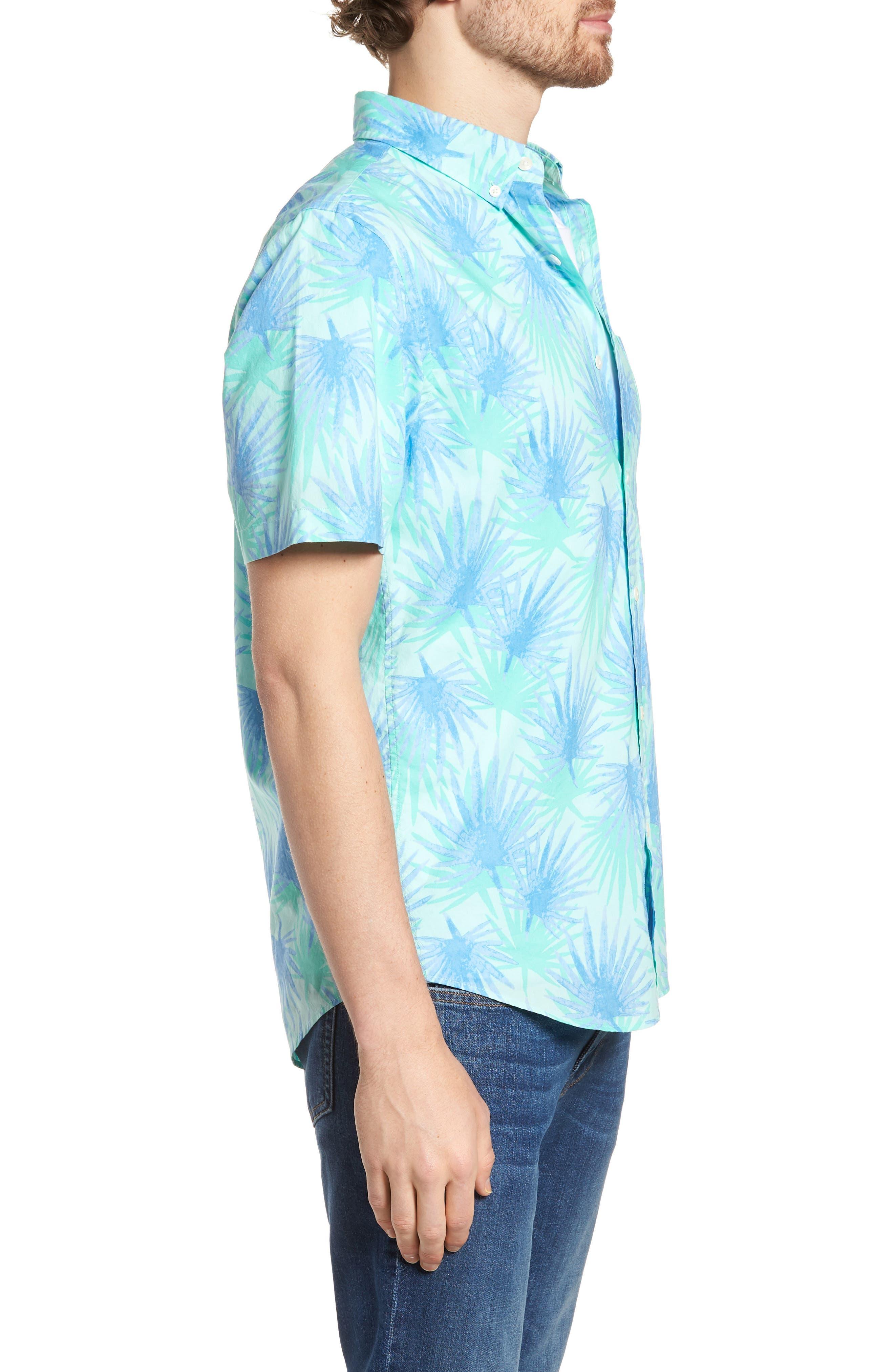 Electric Palm Slim Fit Print Short Sleeve Sport Shirt,                             Alternate thumbnail 3, color,                             Aquamarine