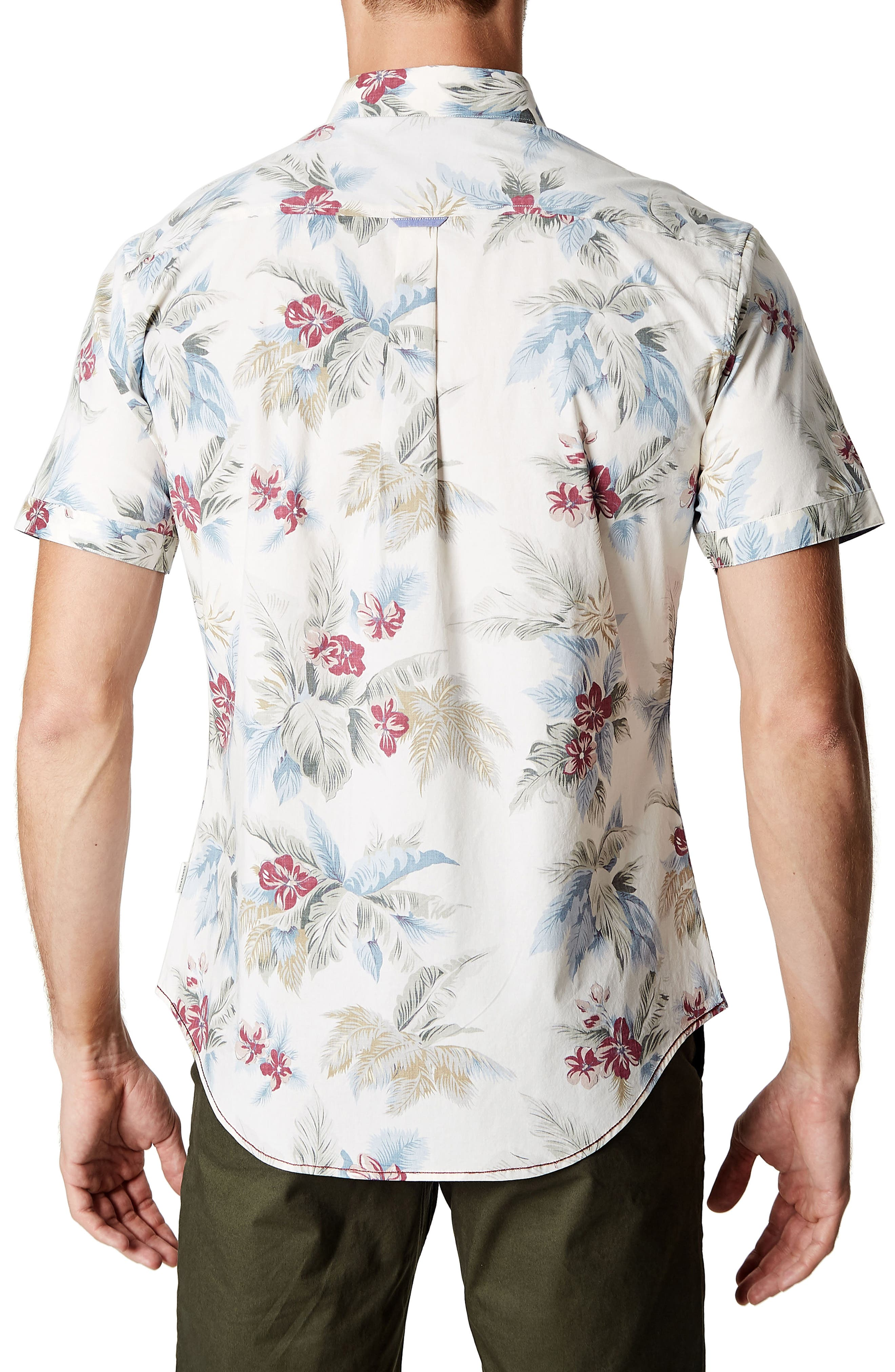 Island in the Sun Trim Fit Short Sleeve Sport Shirt,                             Alternate thumbnail 2, color,                             Natural