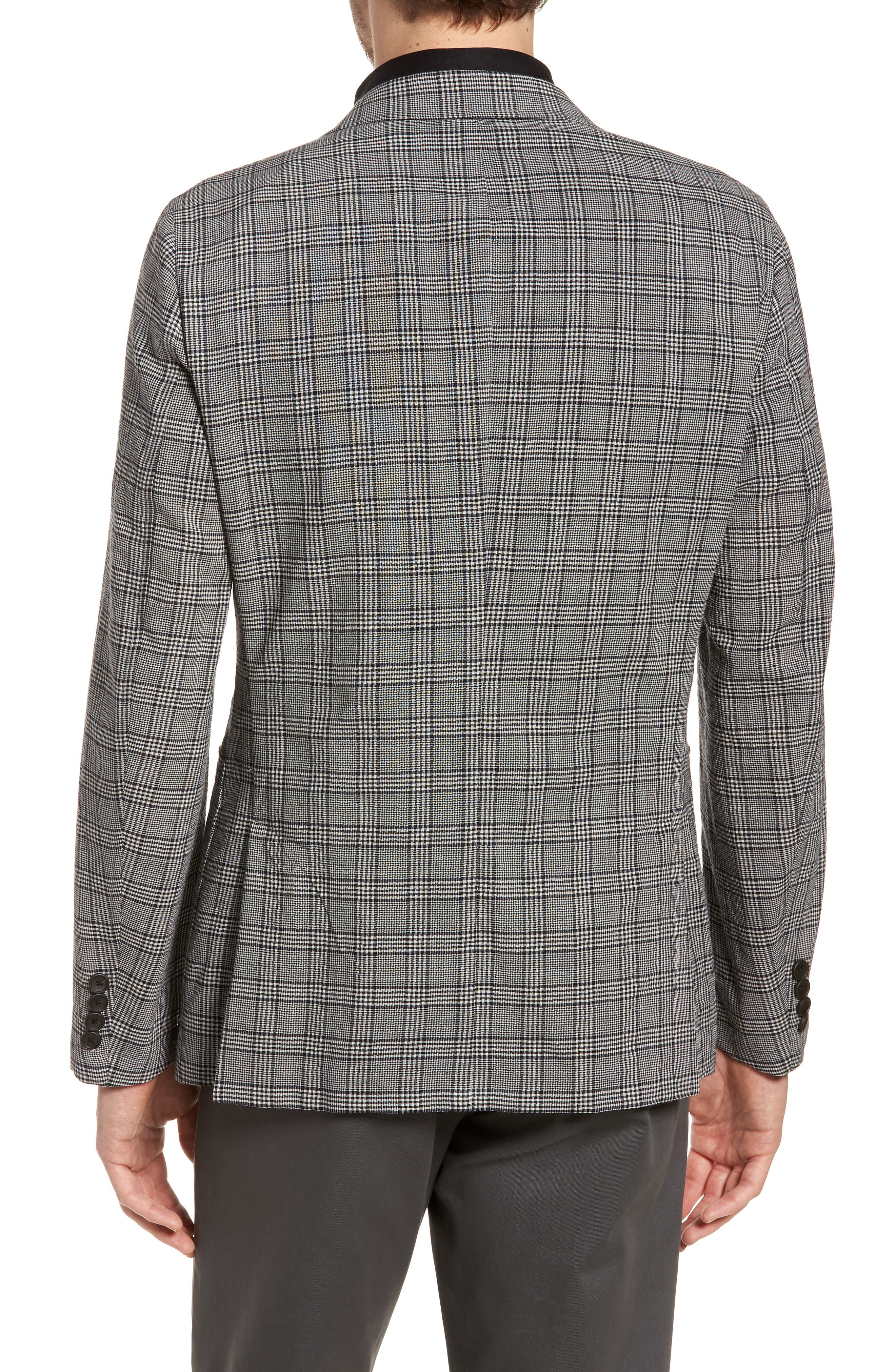 Modern Fit Plaid Wool Sport Coat,                             Alternate thumbnail 2, color,                             Black