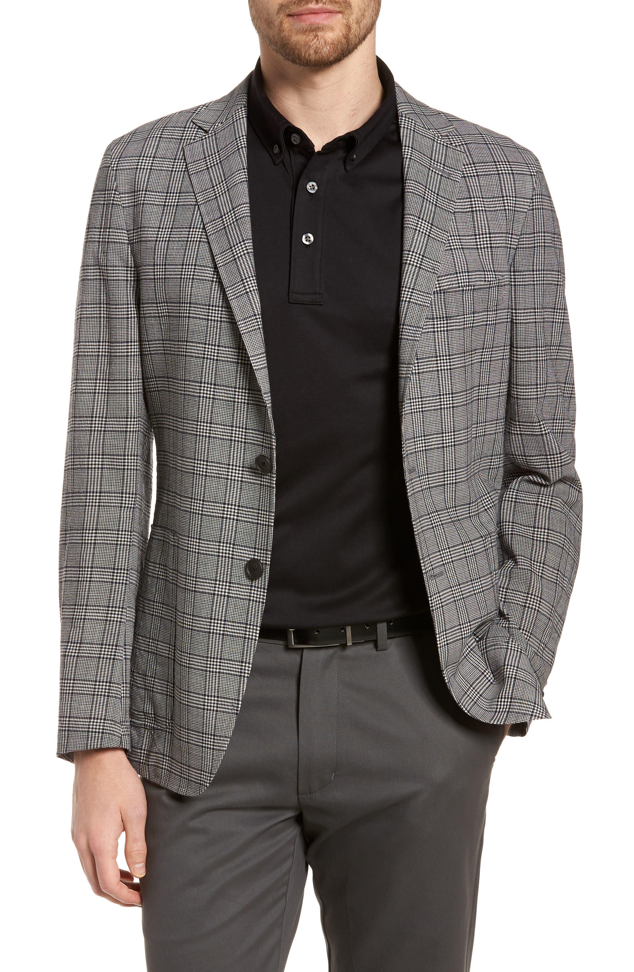 Modern Fit Plaid Wool Sport Coat,                         Main,                         color, Black