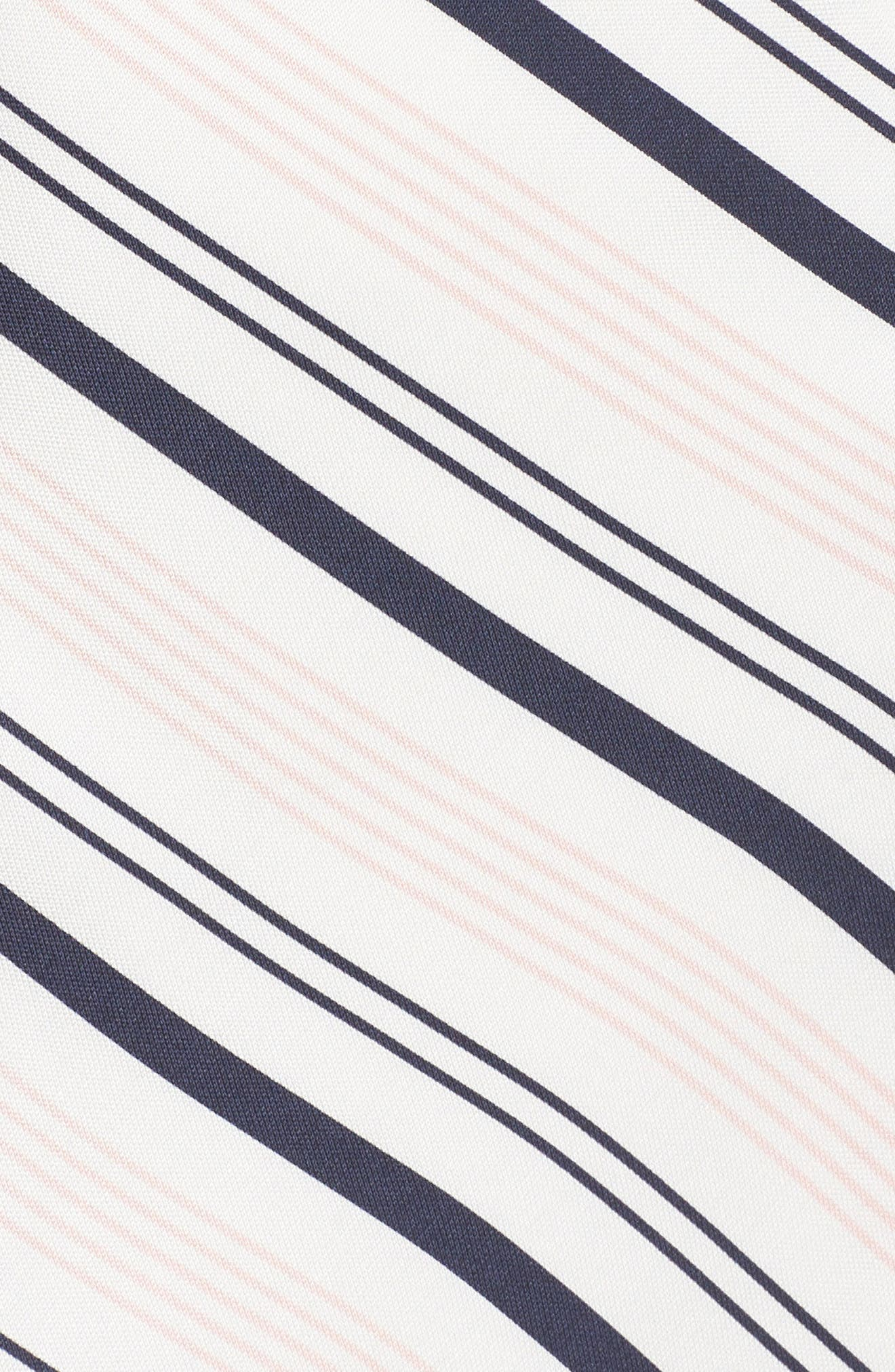 Mix Stripe Asymmetrical Dress,                             Alternate thumbnail 5, color,                             White/ Navy Miranda Stripe