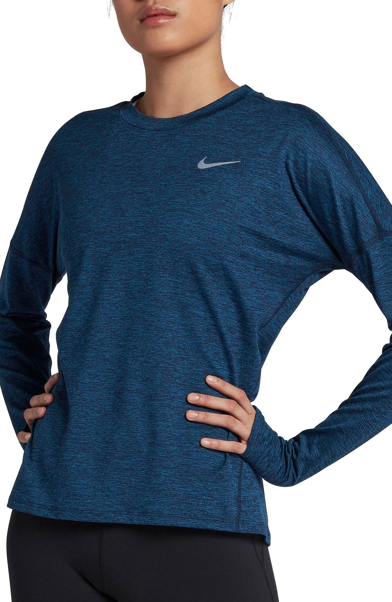 Dry Element Long Sleeve Top,                         Main,                         color, Obsidian/ Blue Force/ Heather