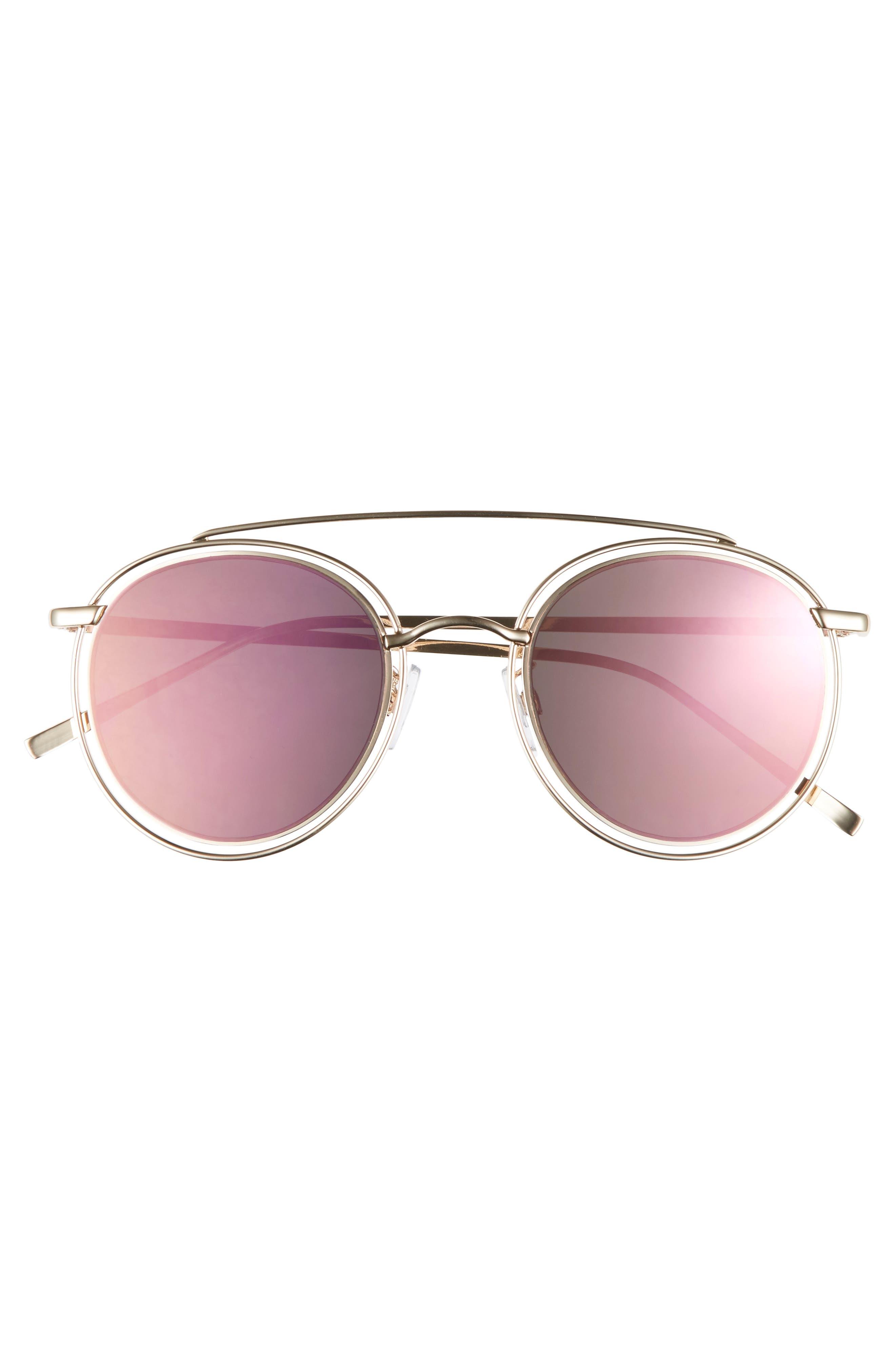 50mm Browbar Sunglasses,                             Alternate thumbnail 3, color,                             Gold/ Pink