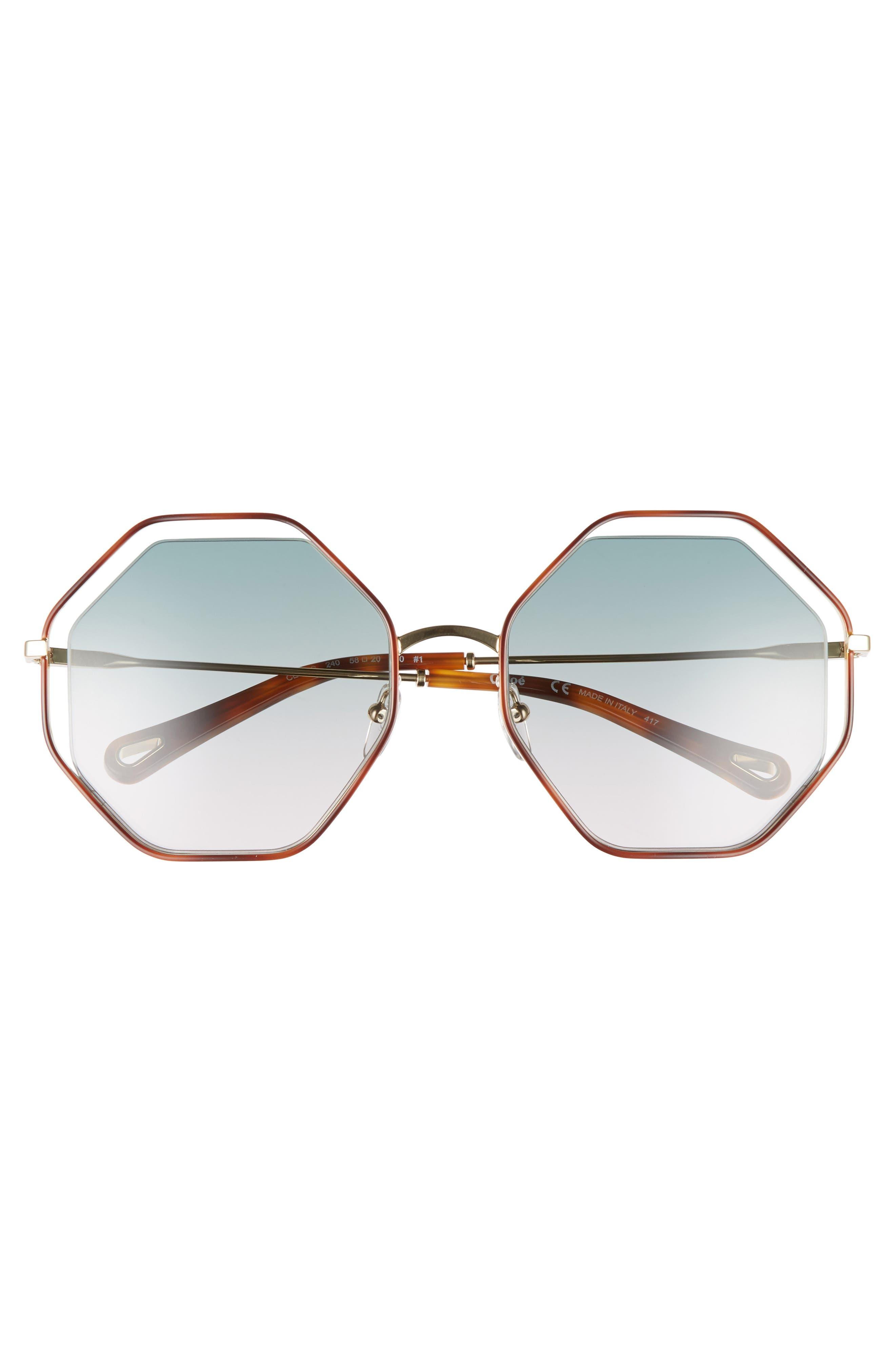 58mm Octagonal Halo Lens Sunglasses,                             Alternate thumbnail 3, color,                             Havana/ Green Rose