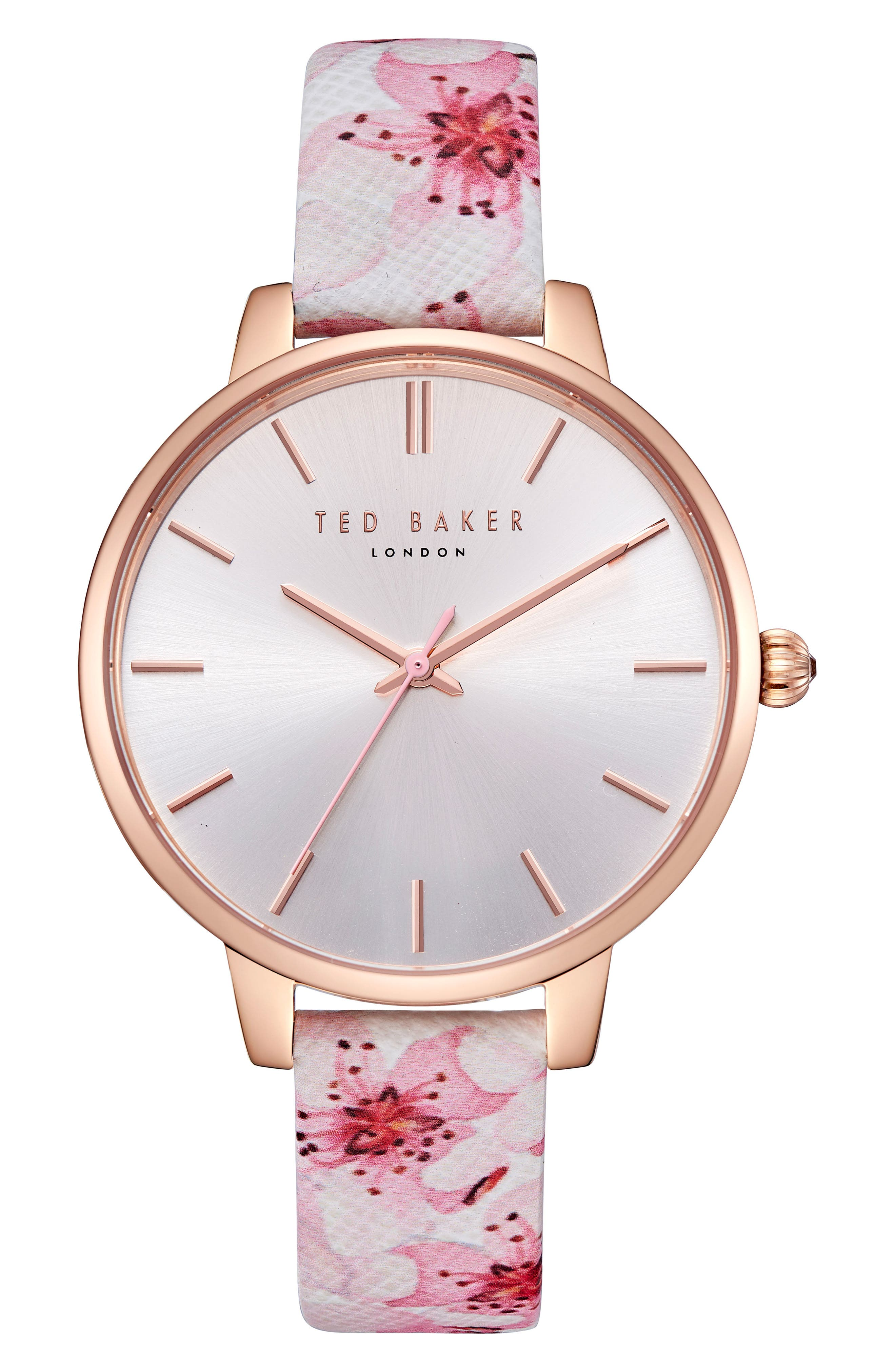 Kate Leather Strap Watch, 38mm,                         Main,                         color, Printed/ Silver/ Rose Gold