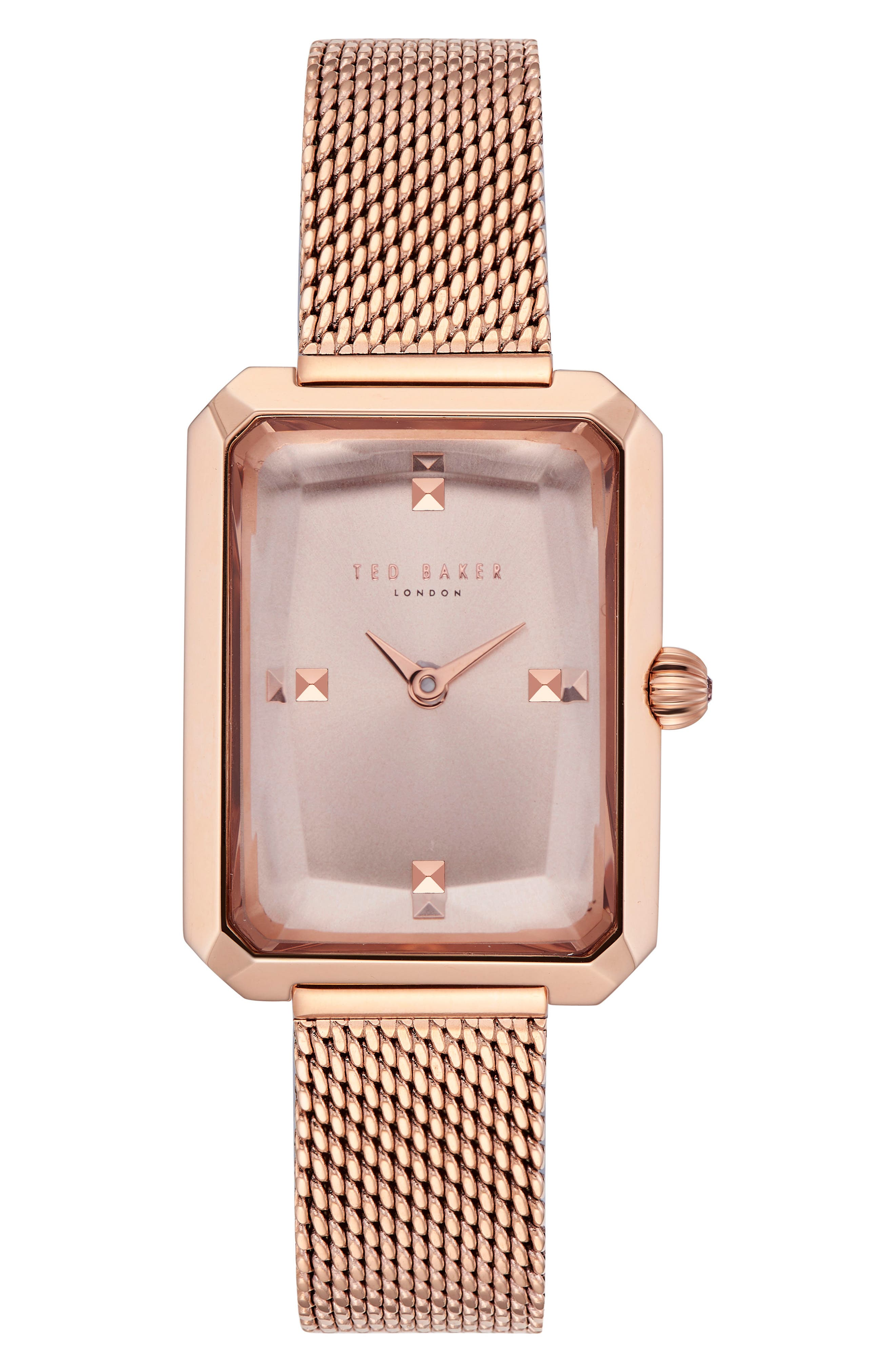 Cara Mesh Strap Watch, 22mm,                         Main,                         color, Rose Gold/ Pink/ Rose Gold