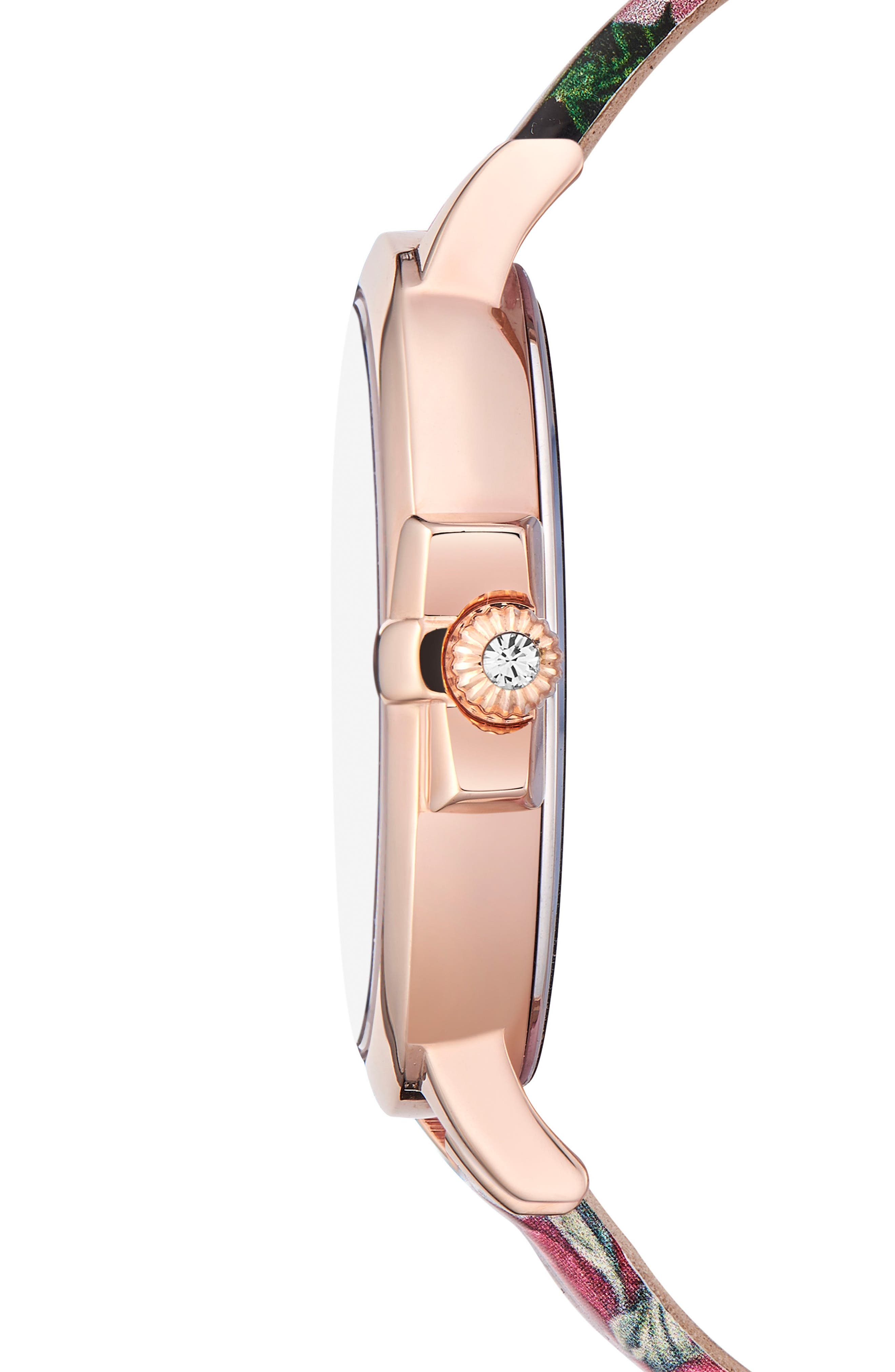 Leather Strap Watch, 36mm,                             Alternate thumbnail 3, color,                             Printed/ Black/ Rose Gold