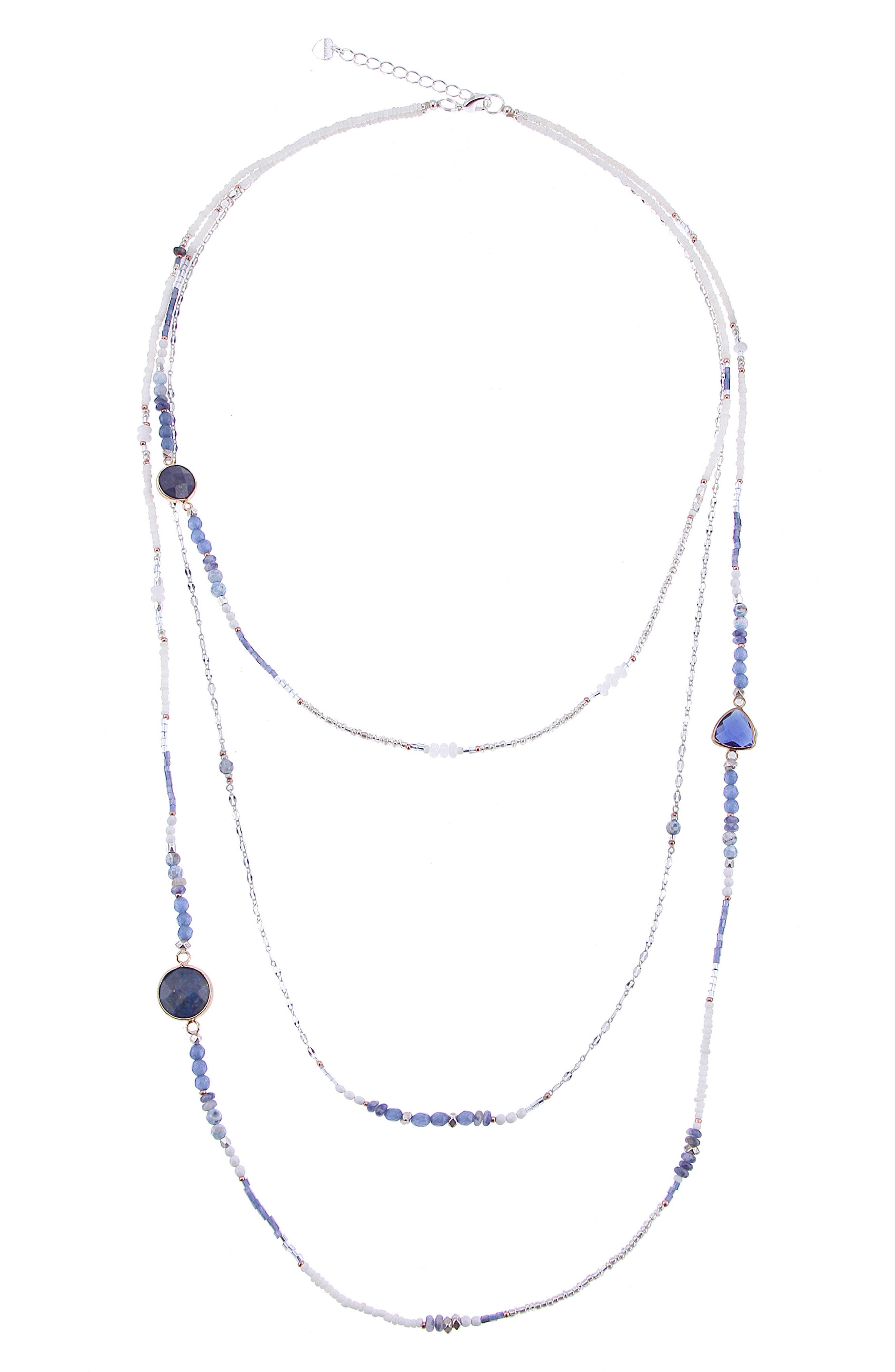 Agate & Crystal Triple Strand Necklace,                             Main thumbnail 1, color,                             Blue