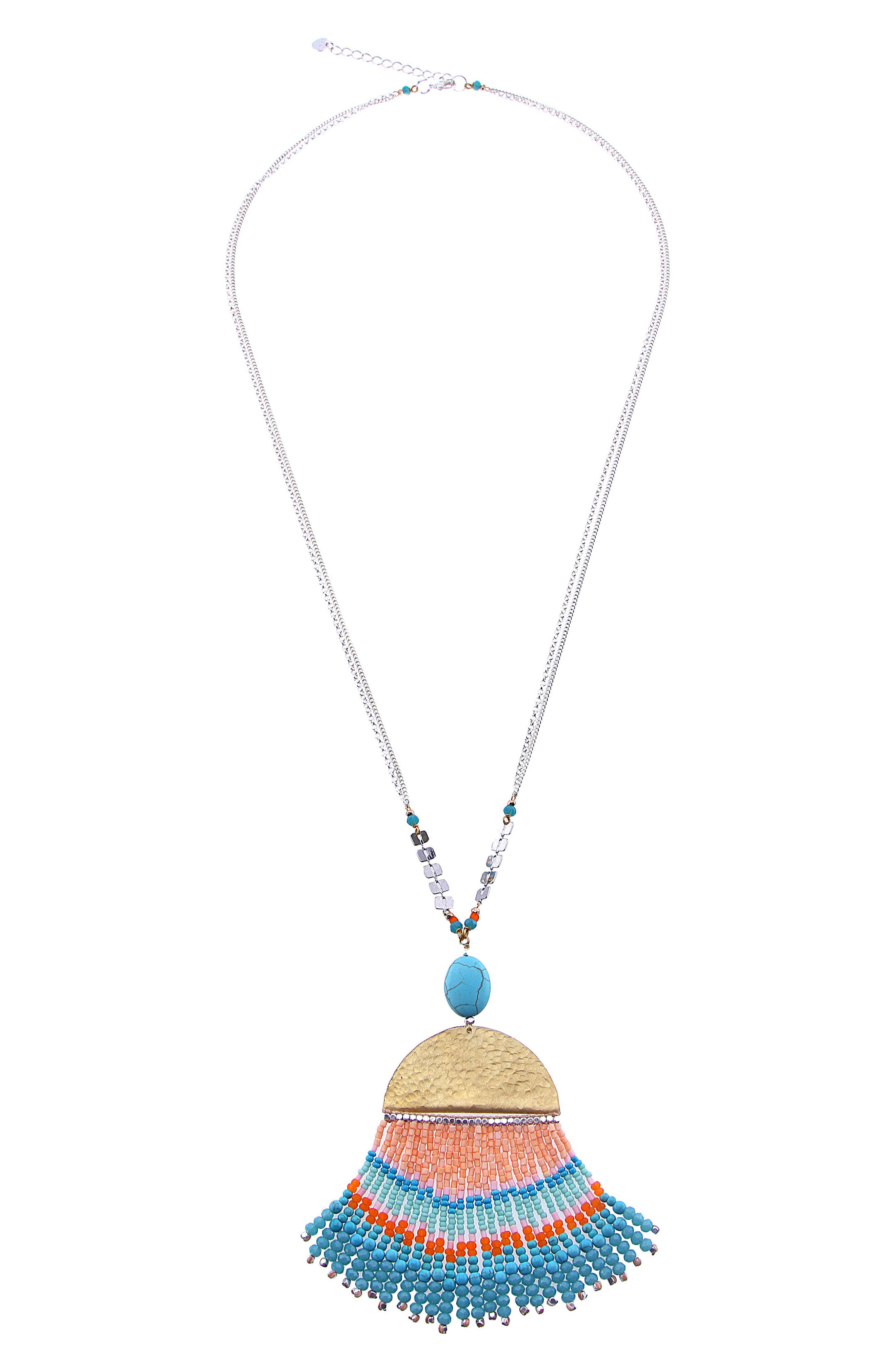 Seed Bead Fringe Pendant Necklace,                             Main thumbnail 1, color,                             Turquoise