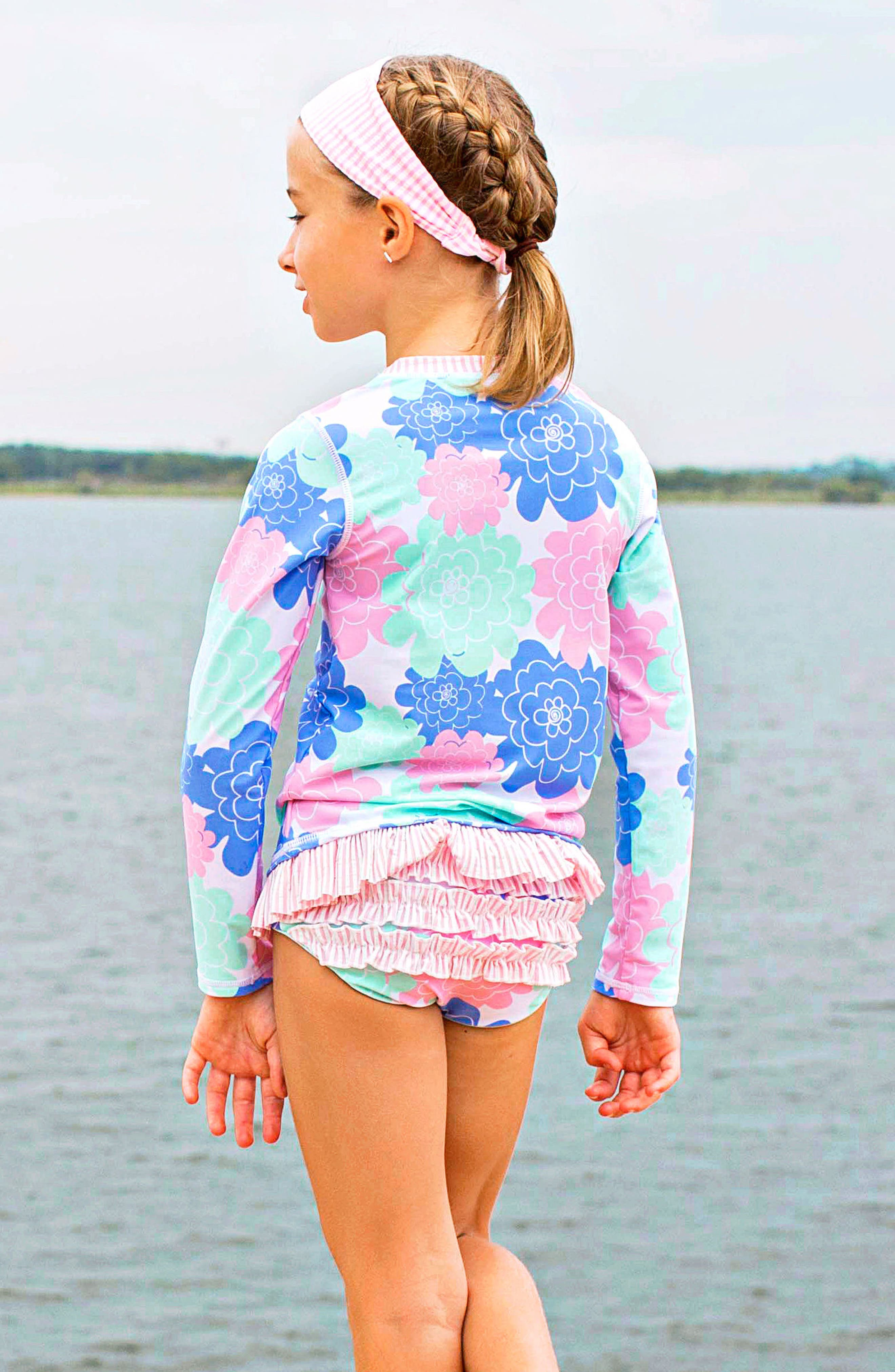 Pastel Petals Two-Piece Rashguard Swimsuit & Head Wrap Set,                             Alternate thumbnail 4, color,                             White