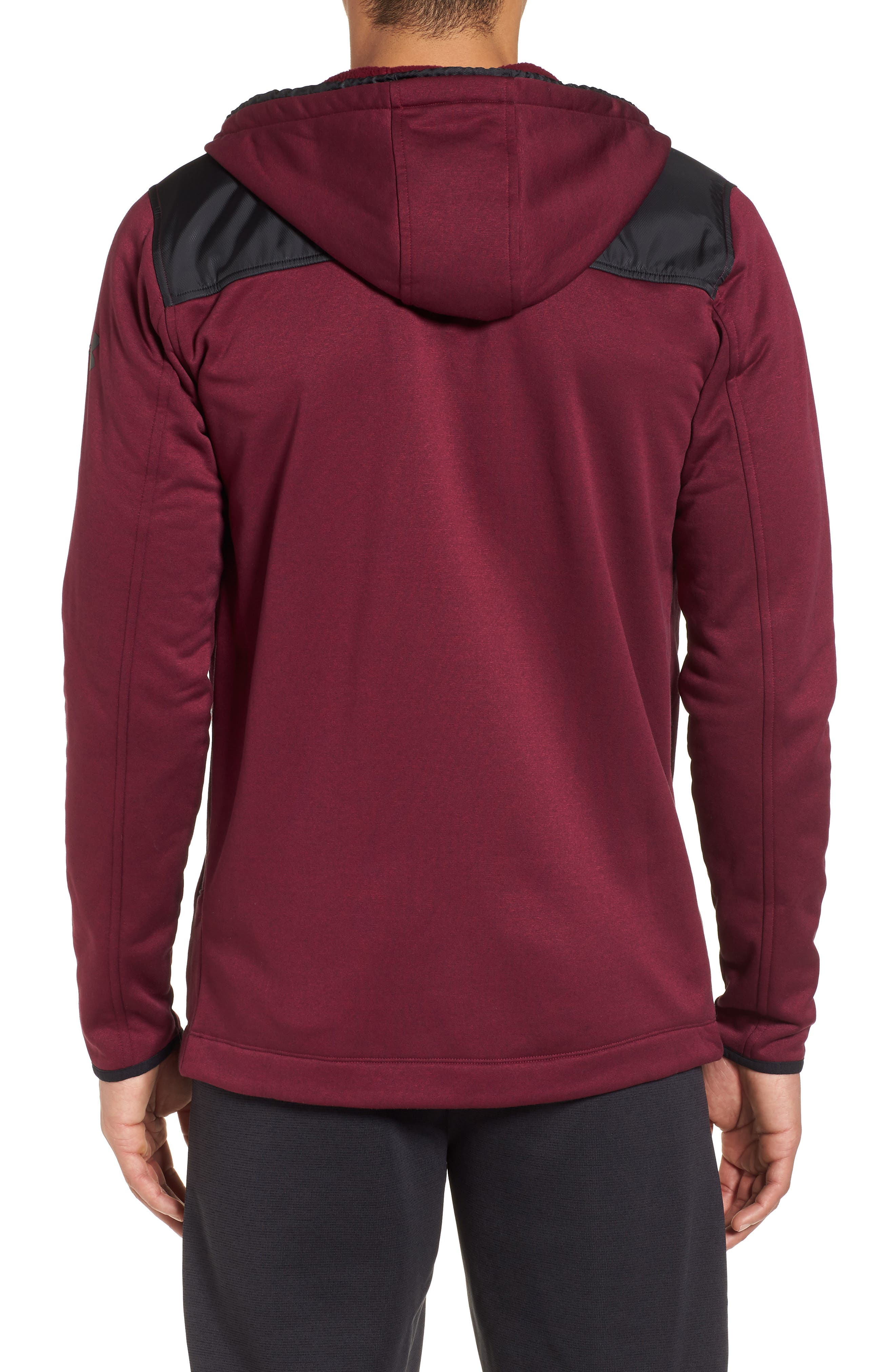 Courtside Stealth Zip Hoodie,                             Alternate thumbnail 2, color,                             Black Currant / Black