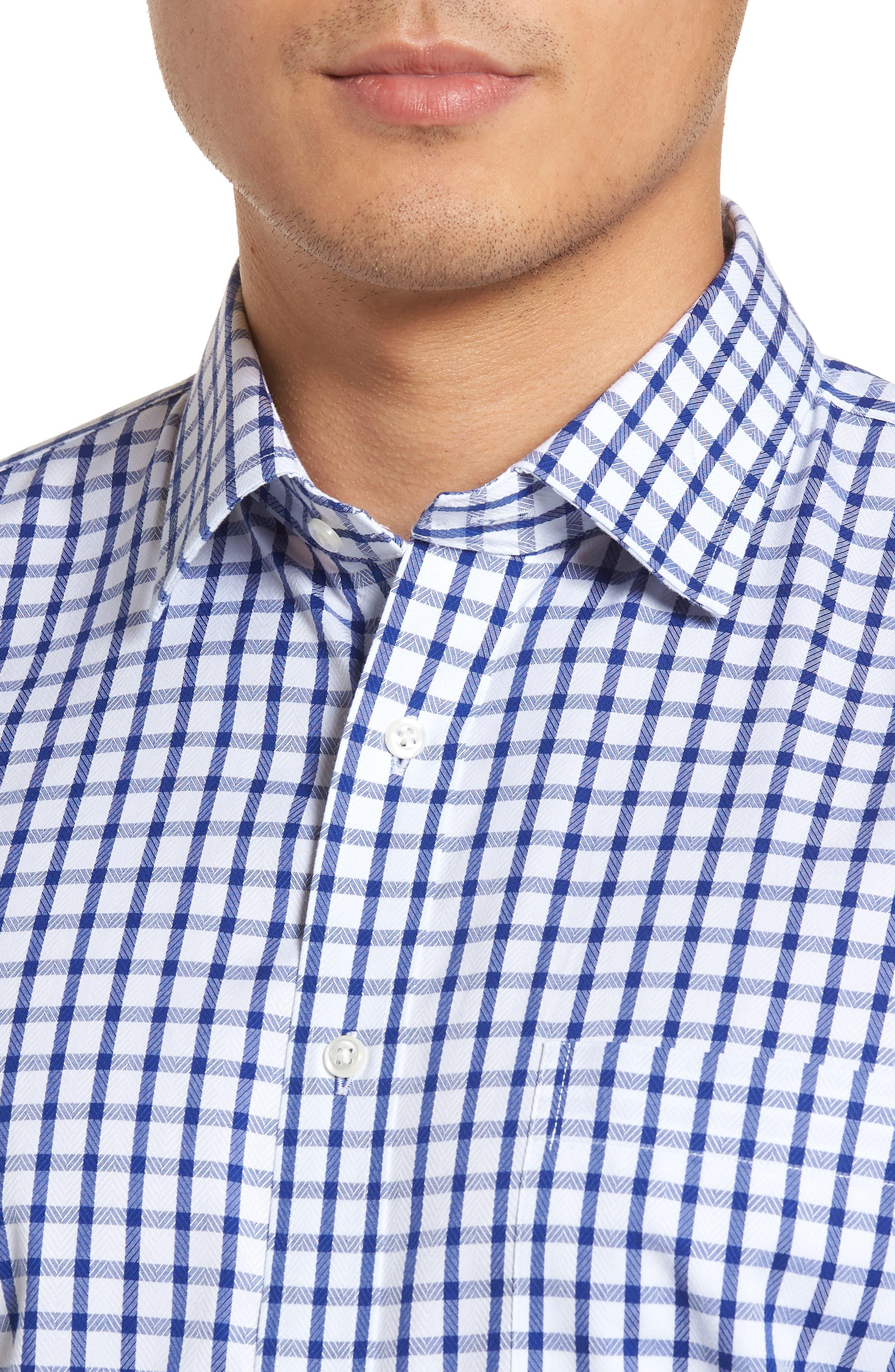 Smartcare<sup>™</sup> Trim Fit Check Dress Shirt,                             Alternate thumbnail 2, color,                             Blue Mazarine