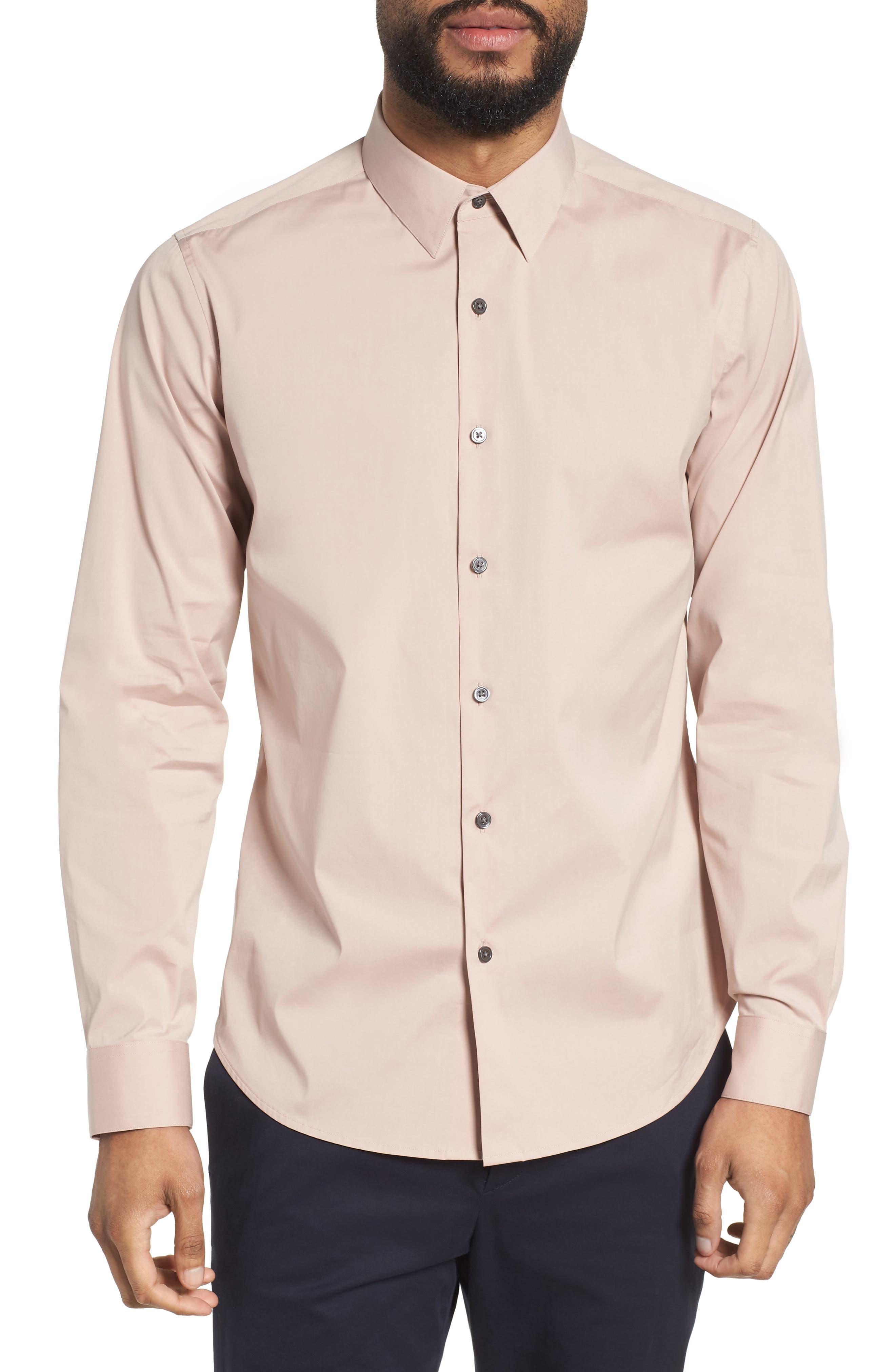 'Sylvain' Trim Fit Long Sleeve Sport Shirt,                             Main thumbnail 1, color,                             Lotus