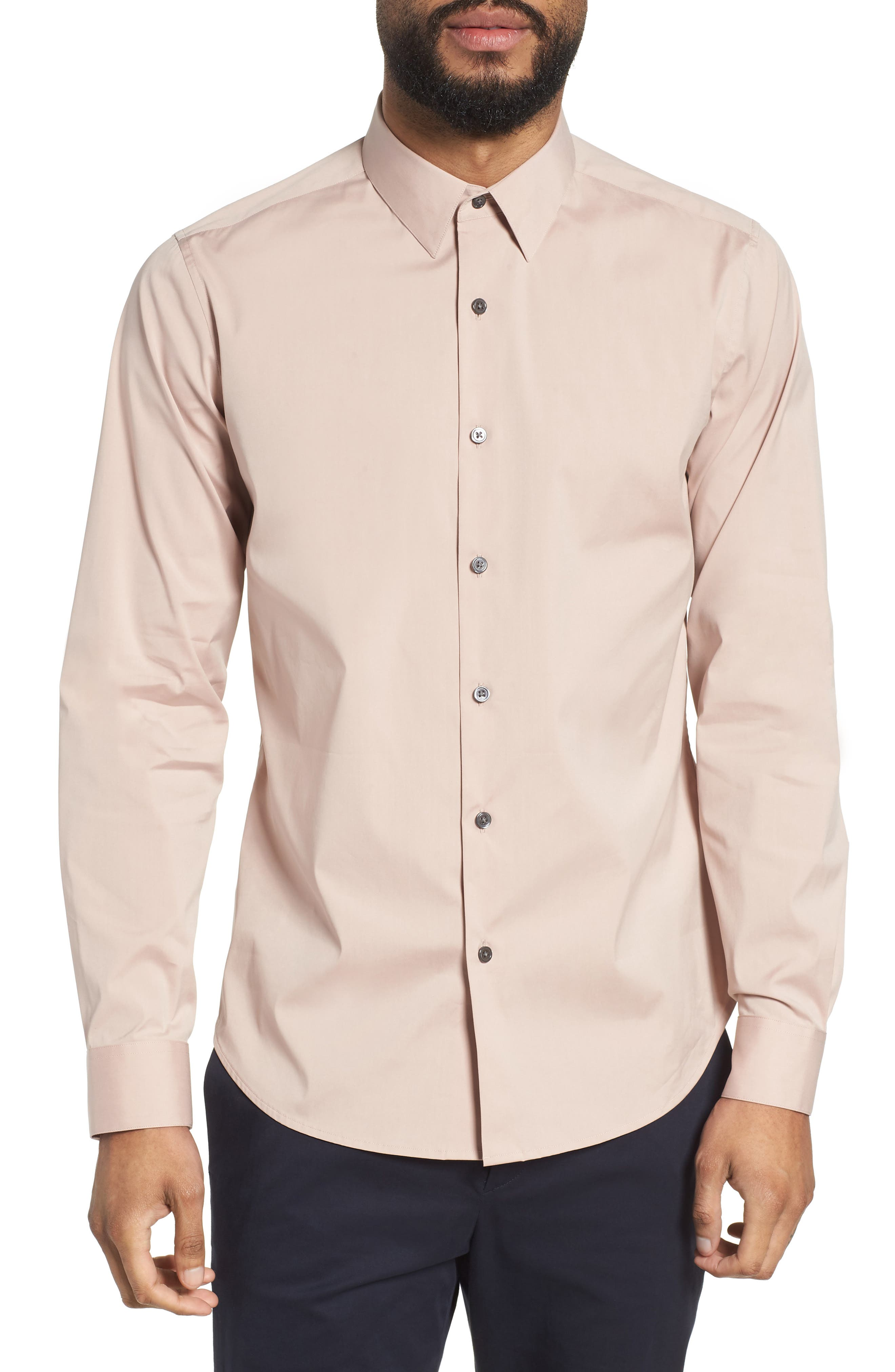 'Sylvain' Trim Fit Long Sleeve Sport Shirt,                         Main,                         color, Lotus