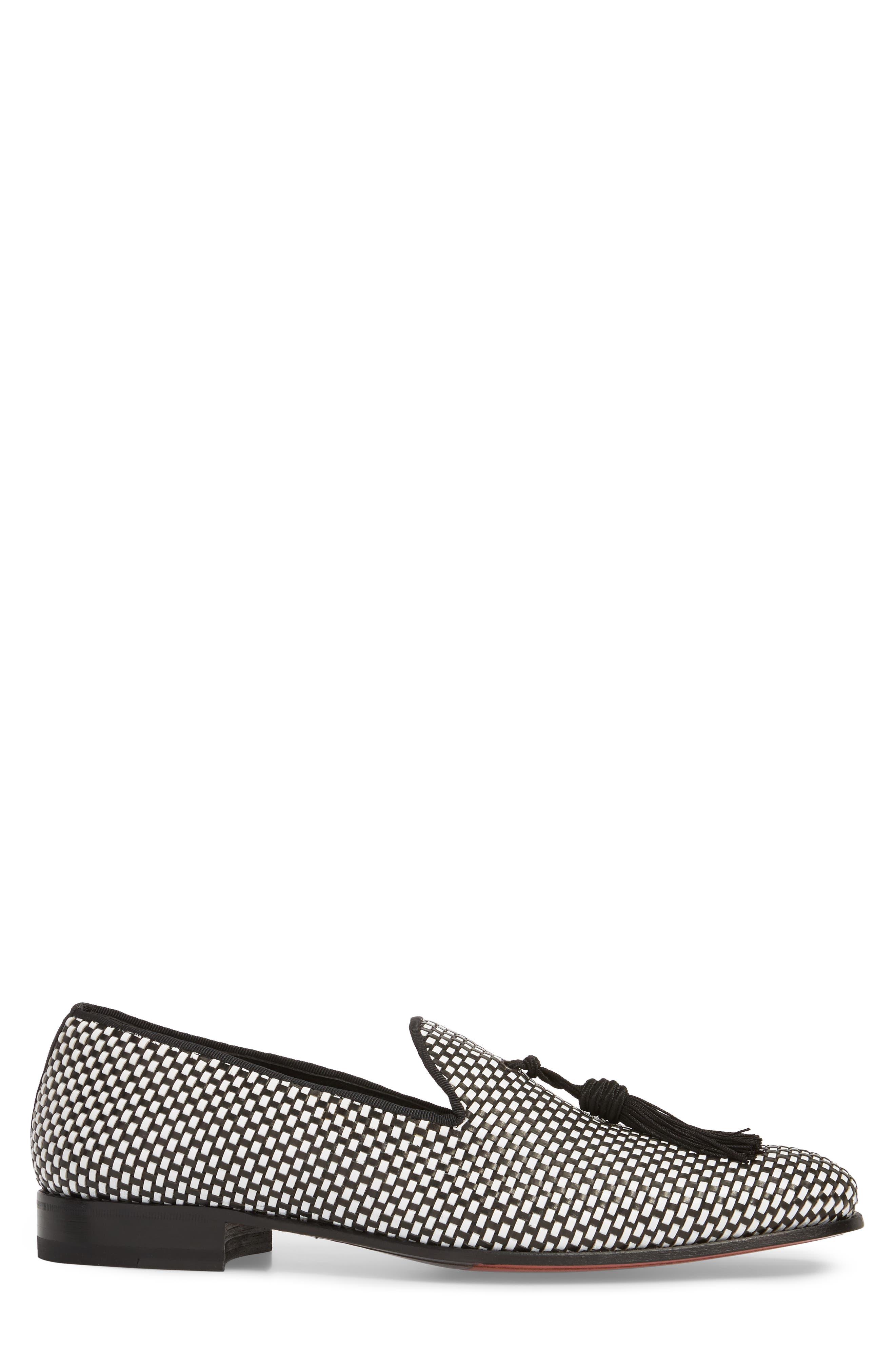 Egeo Tassel Loafer,                             Alternate thumbnail 3, color,                             Black/ White Leather