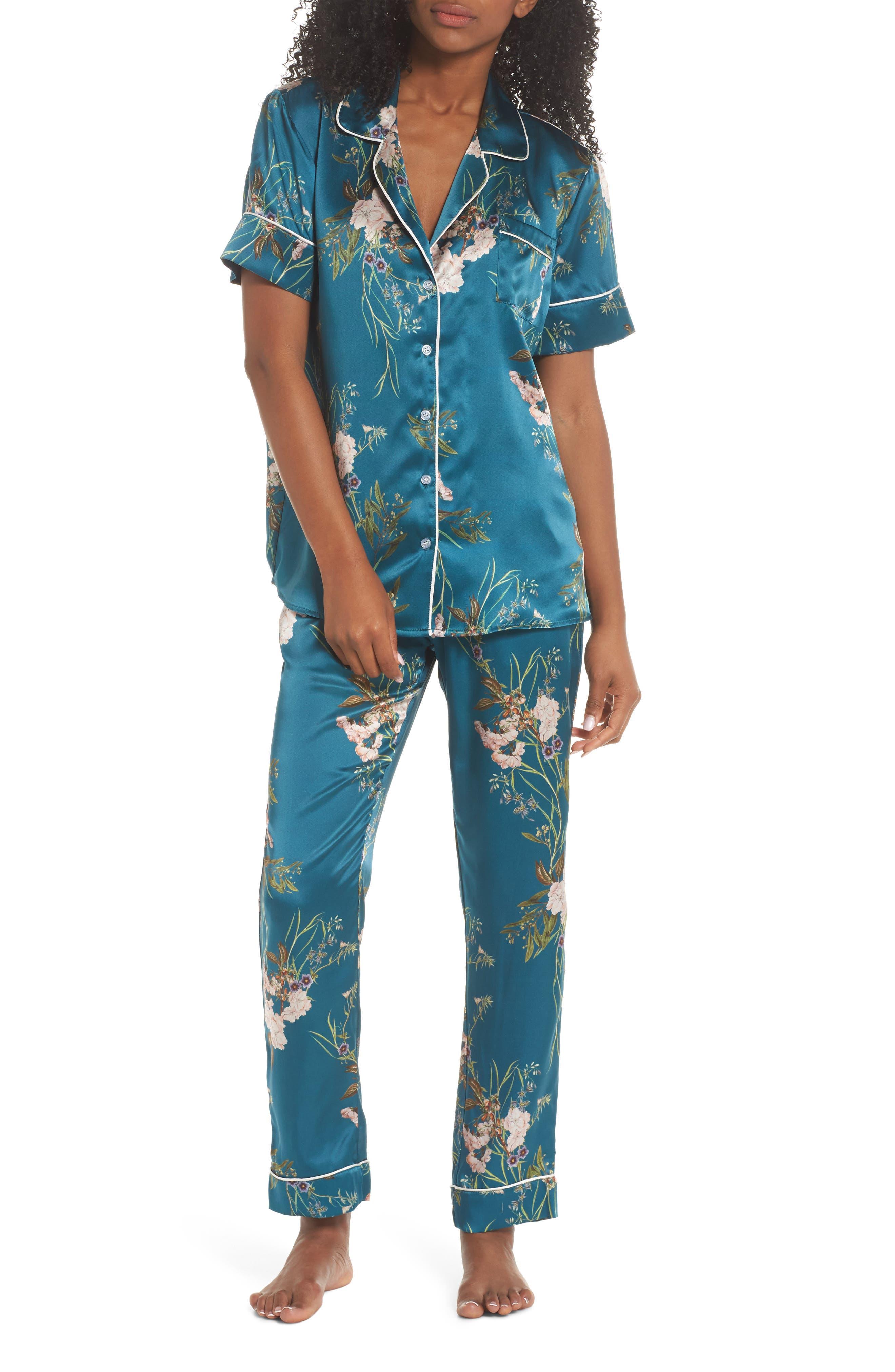 Alexandra Silk Pajama Pants,                             Alternate thumbnail 6, color,                             Teal Floral
