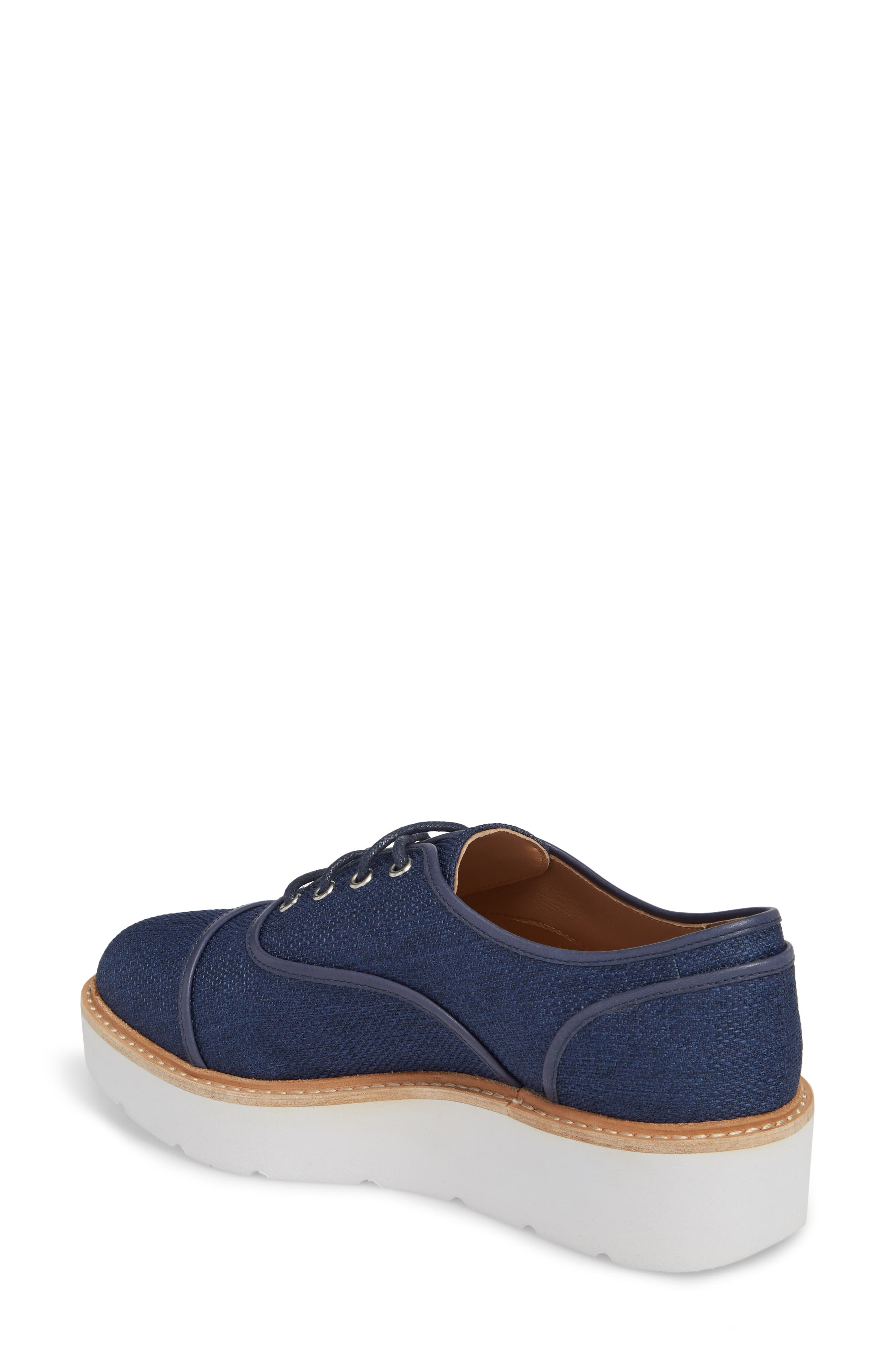 Mavis Cap Toe Platform Sneaker,                             Alternate thumbnail 2, color,                             Blue Fabric