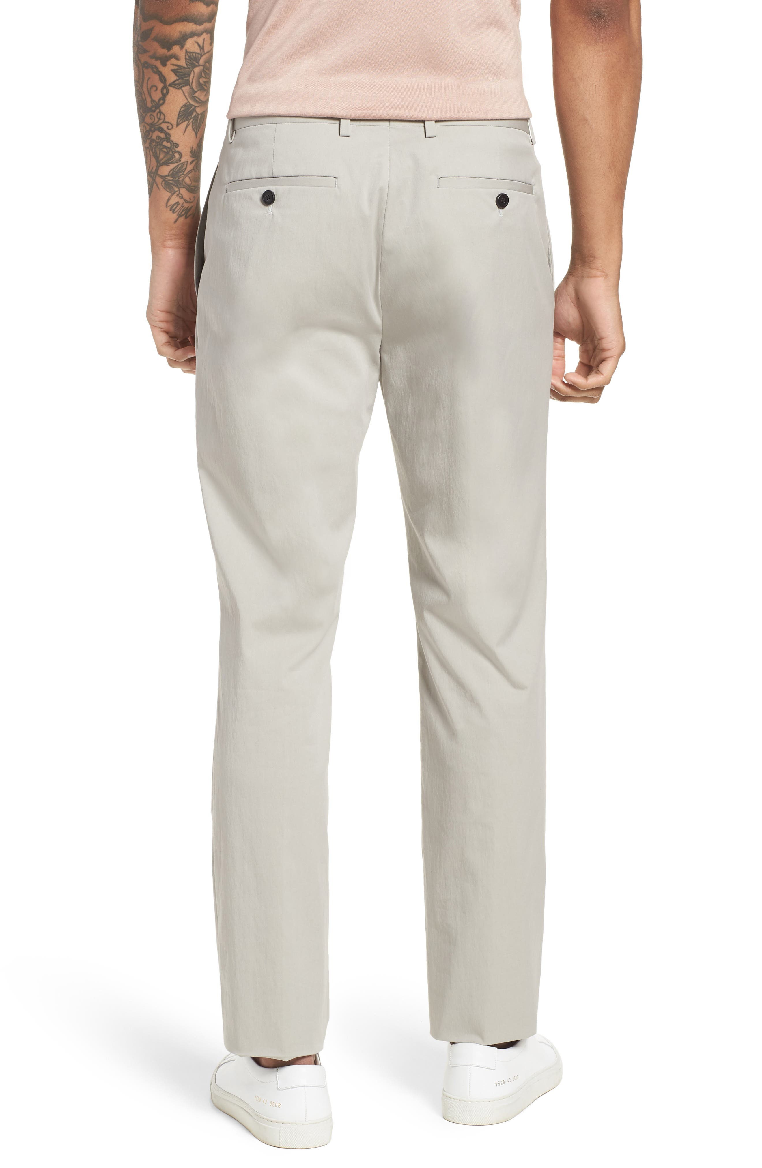 Zaine Technical Flat Front Stretch Pants,                             Alternate thumbnail 2, color,                             Ash