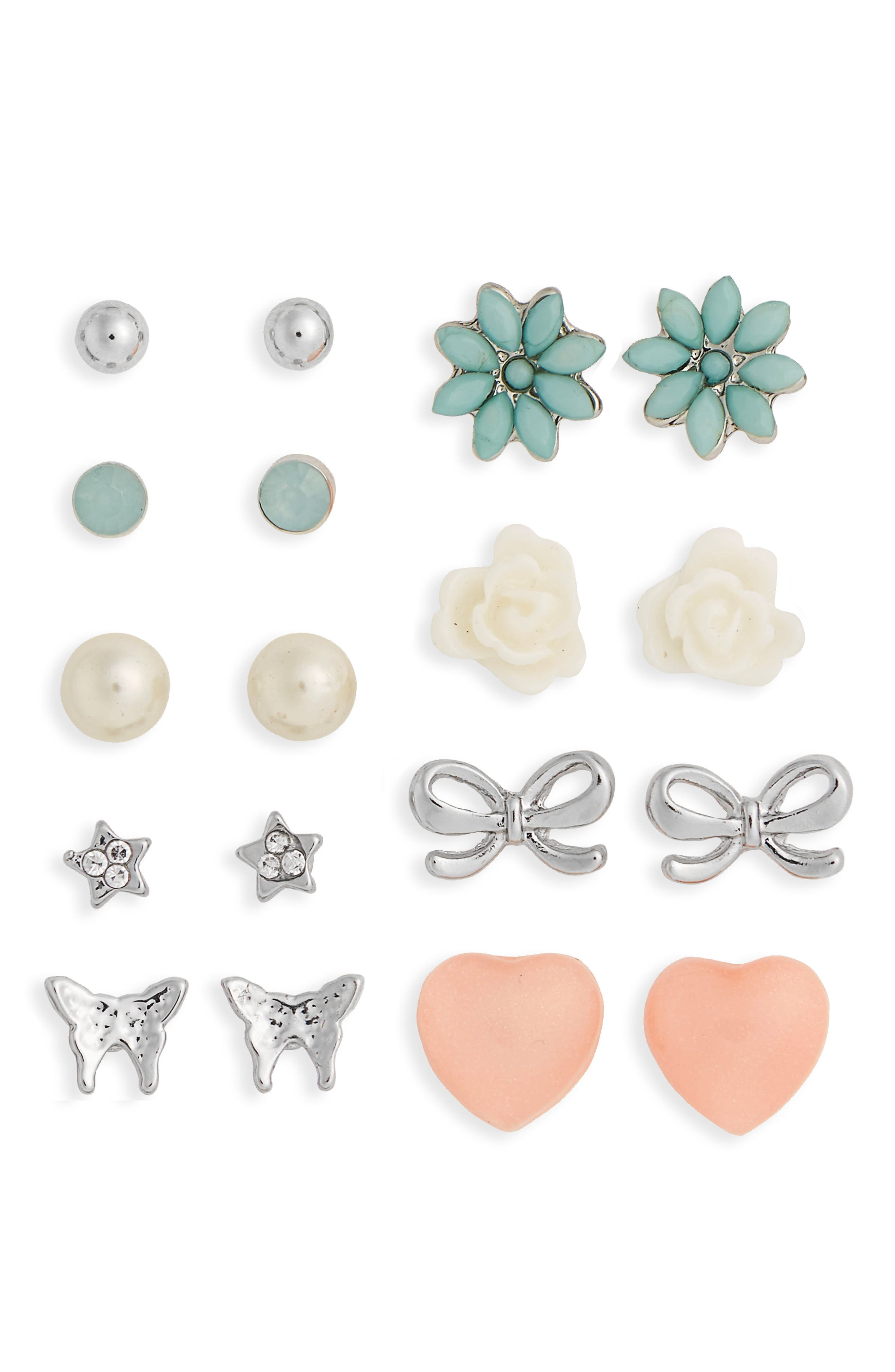 Main Image - Capelli New York Set of 9 Butterfly Earrings (Girls)