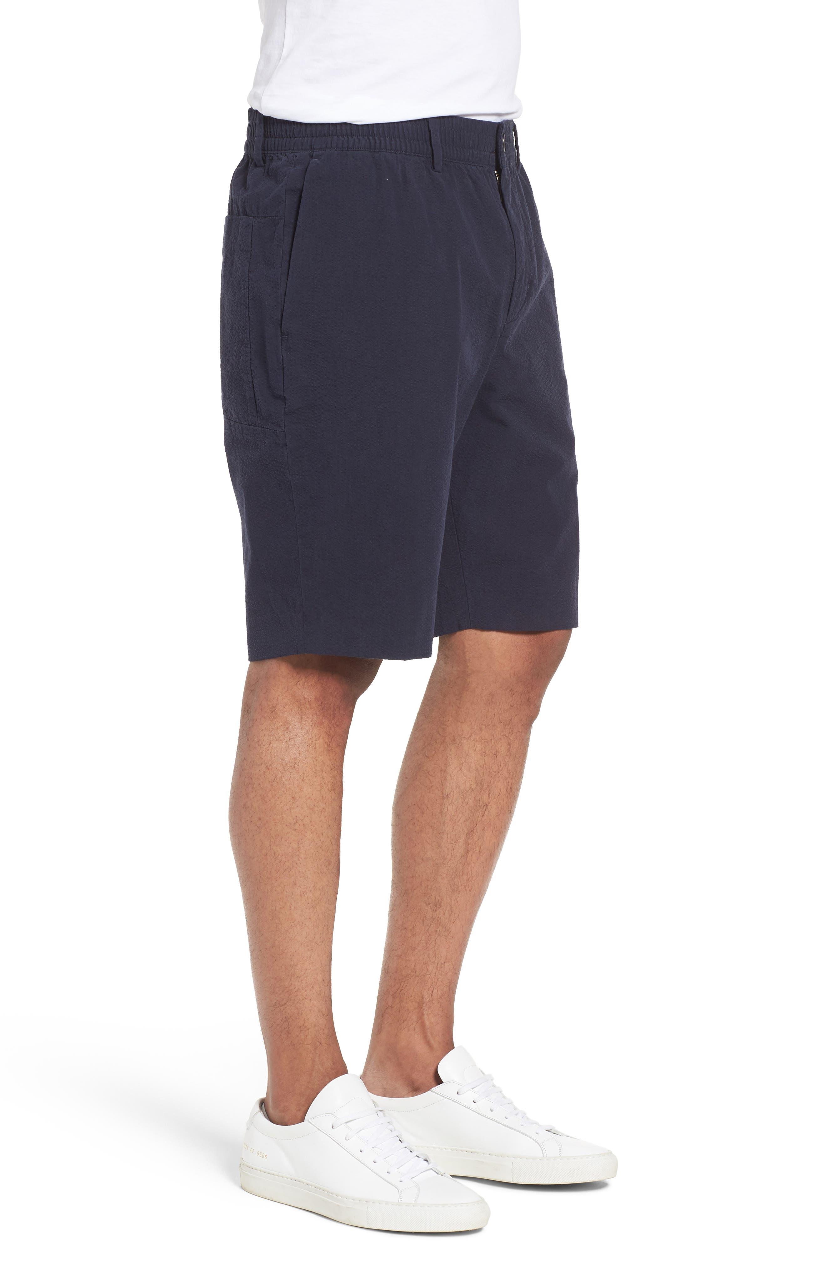 Elastic Waist Seersucker Shorts,                             Alternate thumbnail 3, color,                             Navy Night Seersucker