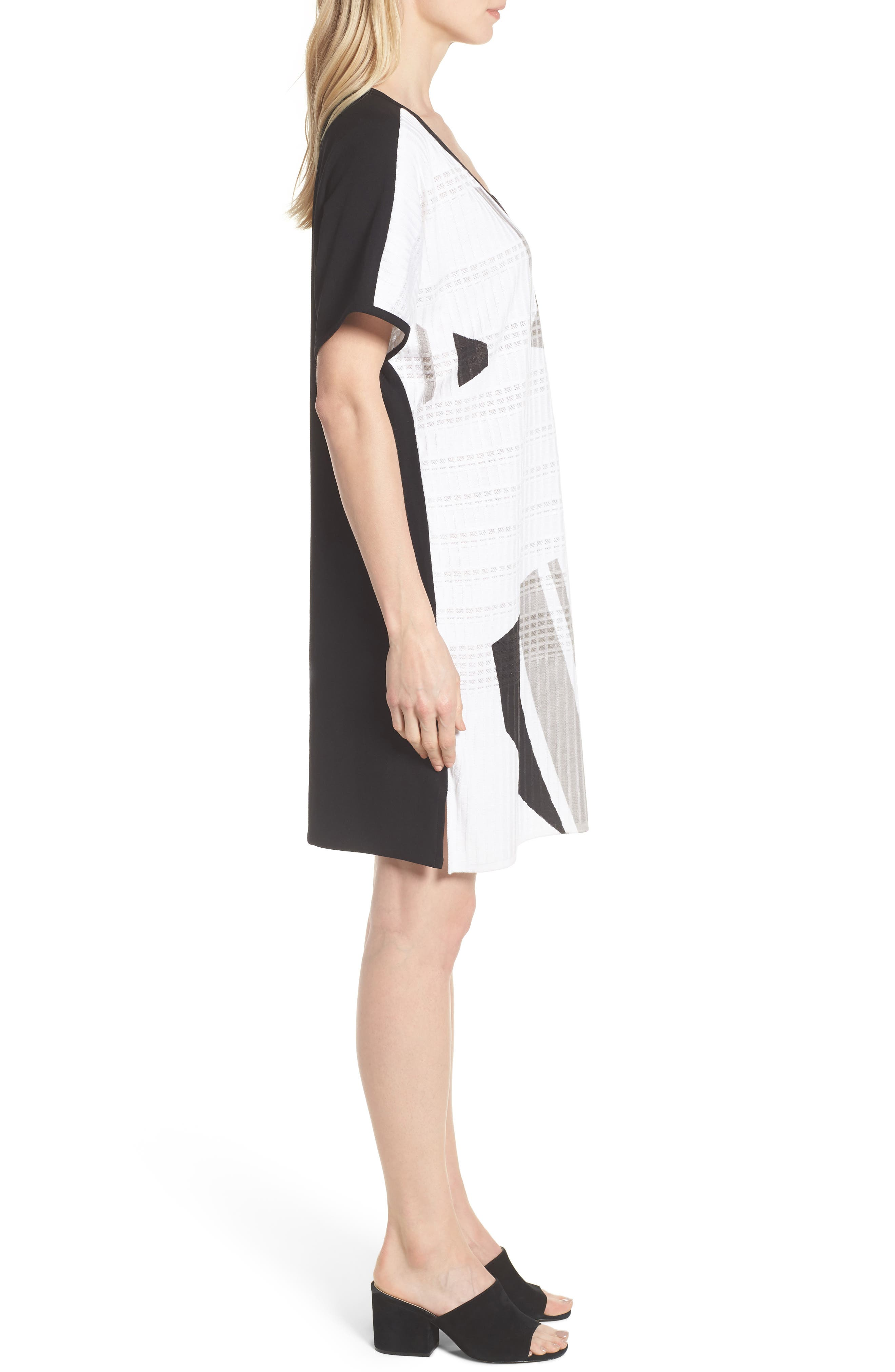 Geometric Jacquard Tunic Dress,                             Alternate thumbnail 3, color,                             White/ Almond Beige/ Black