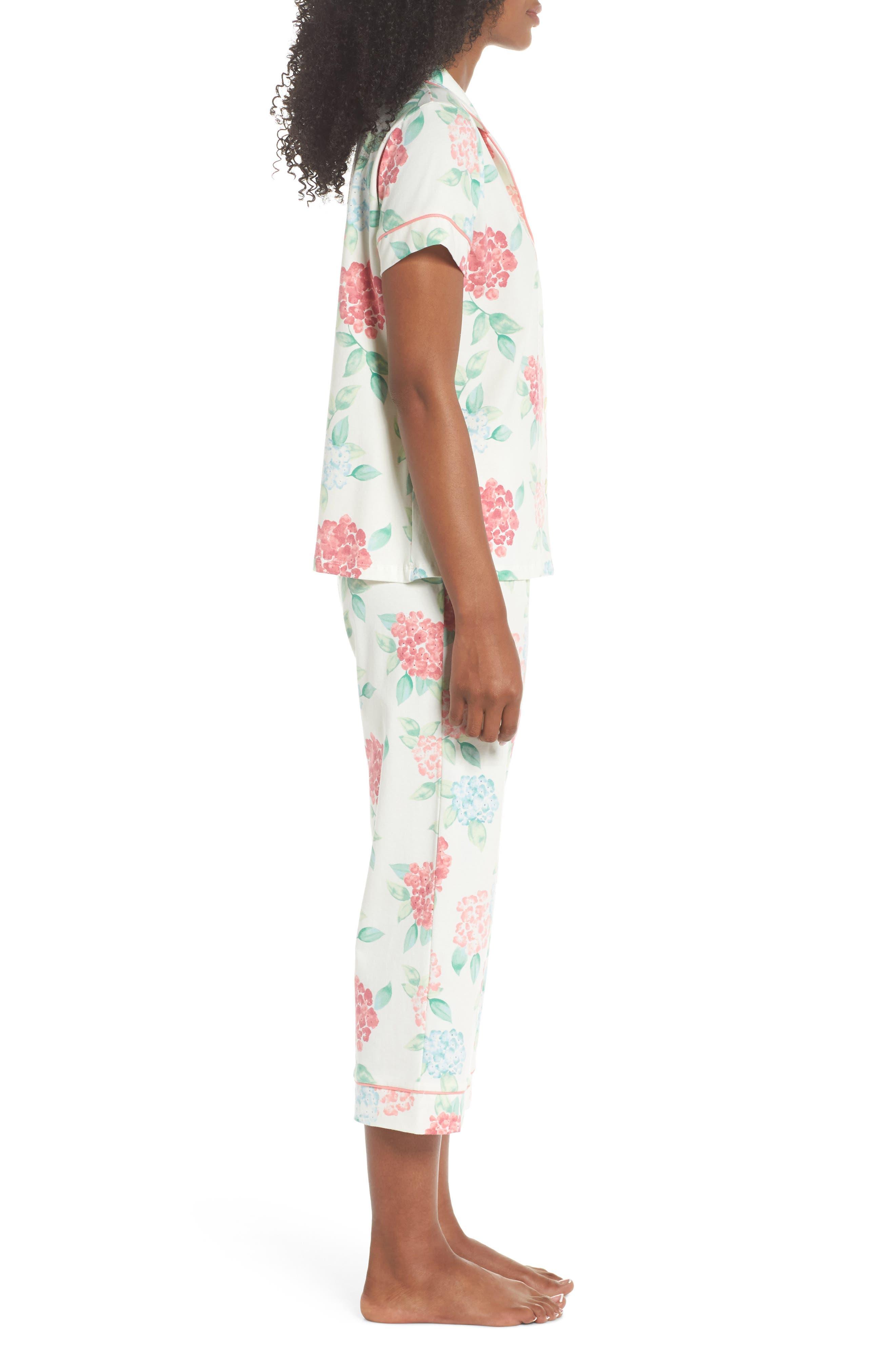 Crop Pajamas,                             Alternate thumbnail 3, color,                             Hydrangea